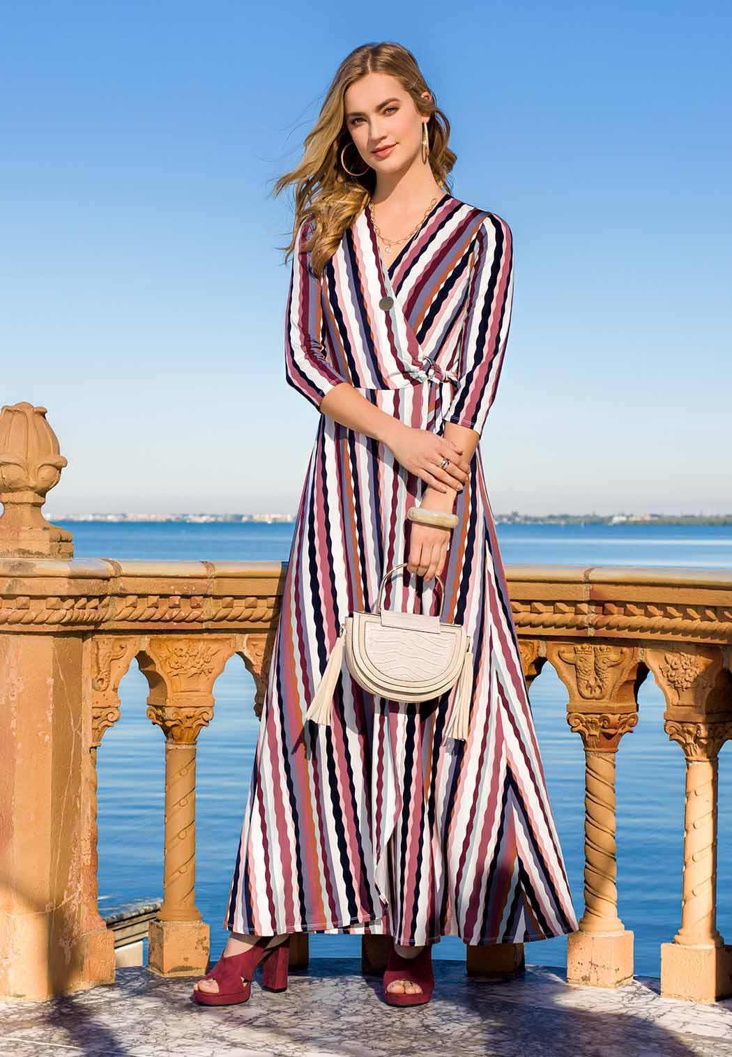 Plus Size Stripe Wrap Maxi Dress (Item #44103068)