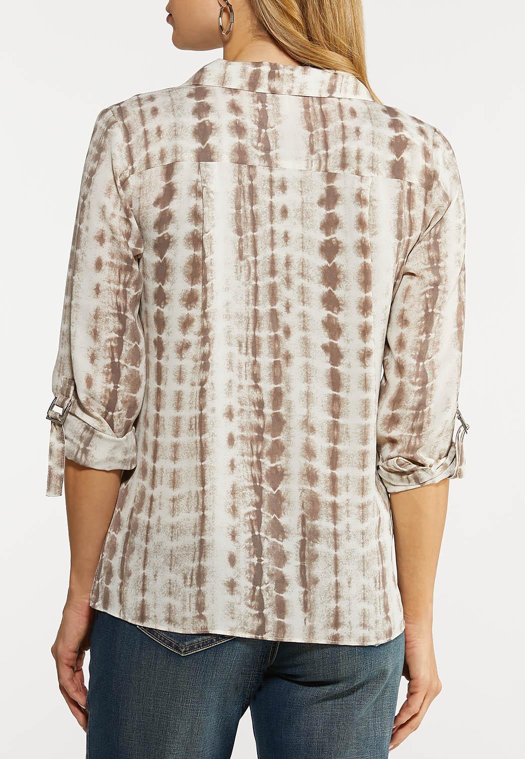 Plus Size Earthy Tie Dye Shirt (Item #44103129)