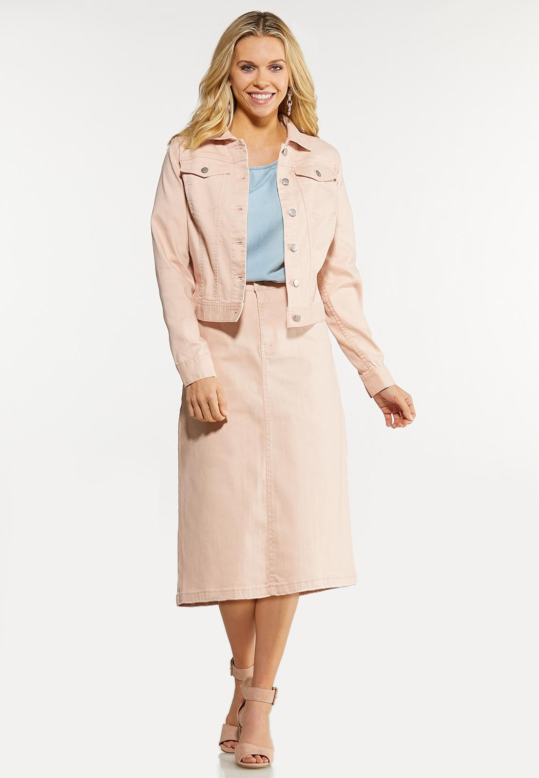 Plus Size Color Denim Jacket (Item #44104012)