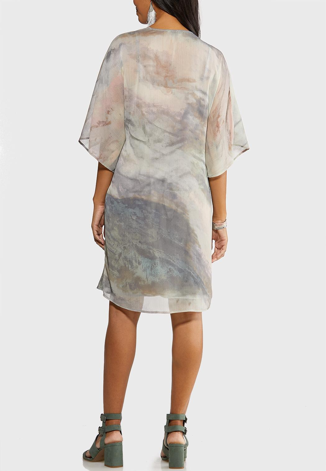 Plus Size Watercolor Slip Dress Set (Item #44104057)