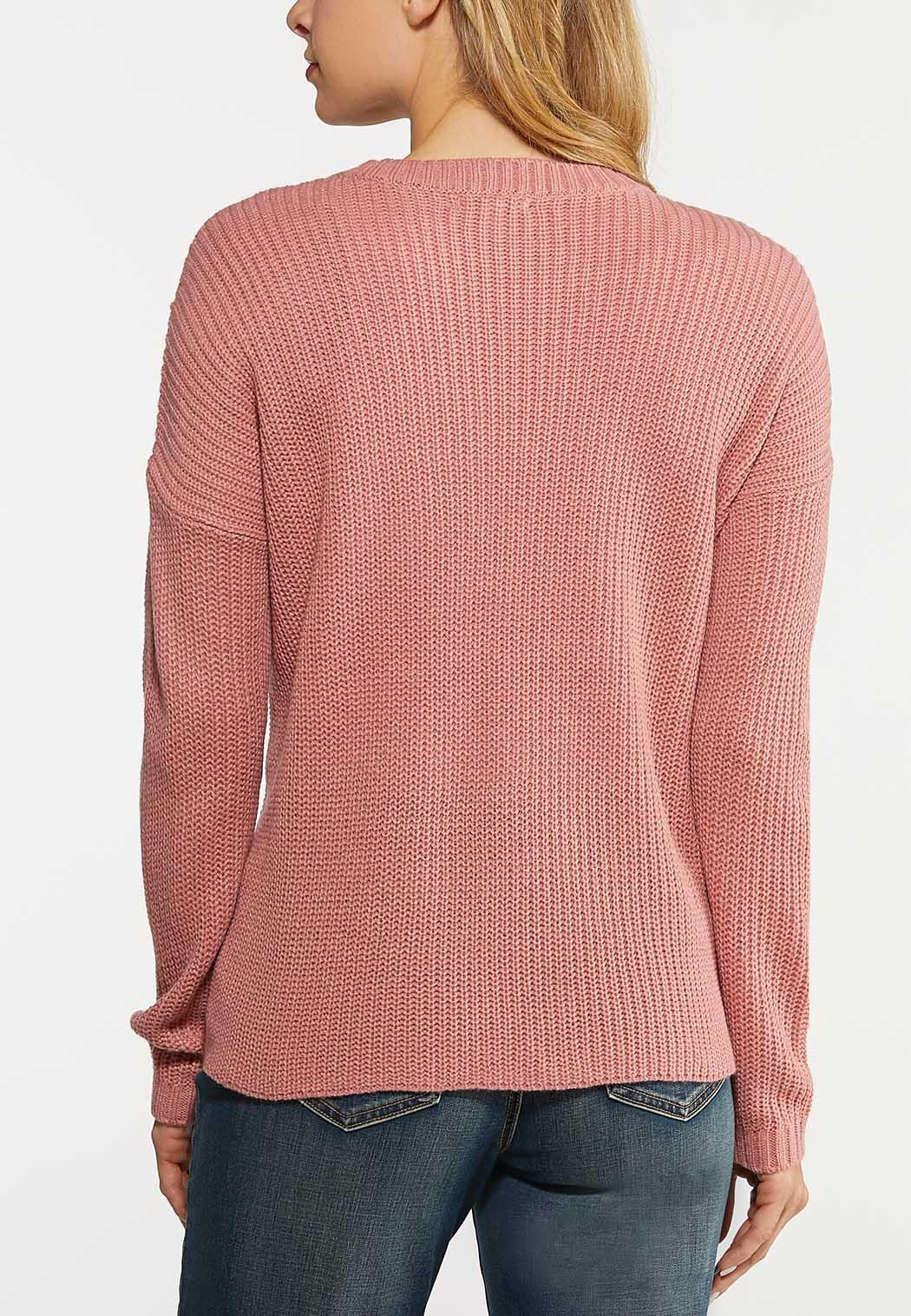 Plus Size Rose Lace Up Sweater (Item #44104330)