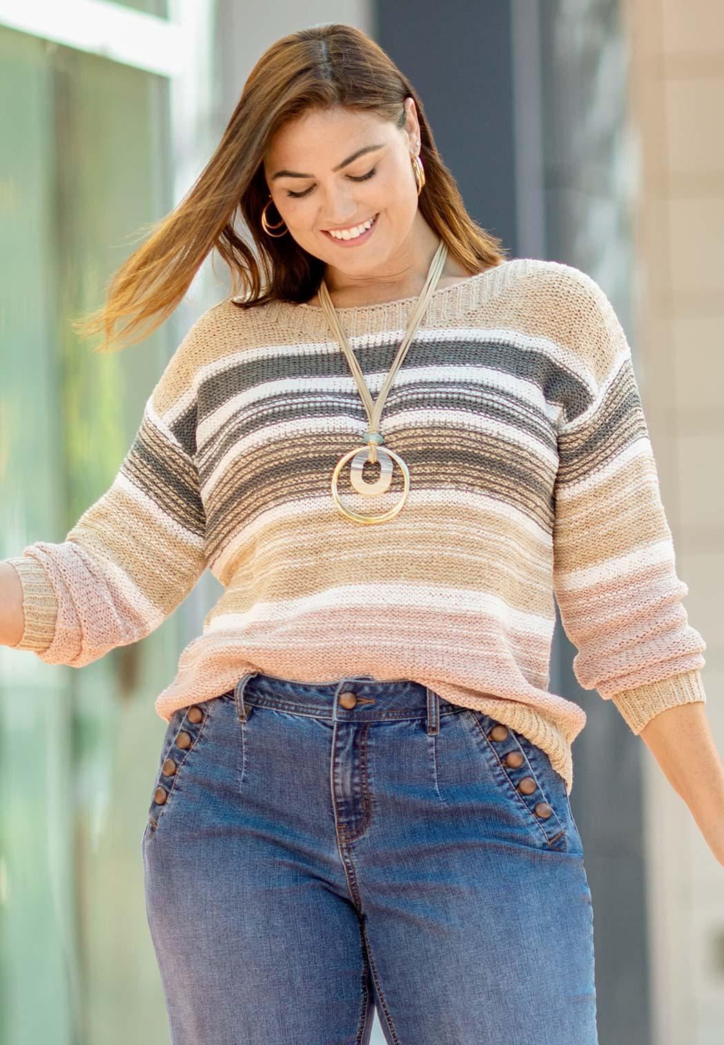 Plus Size Yarn Knit Striped Sweater (Item #44104496)
