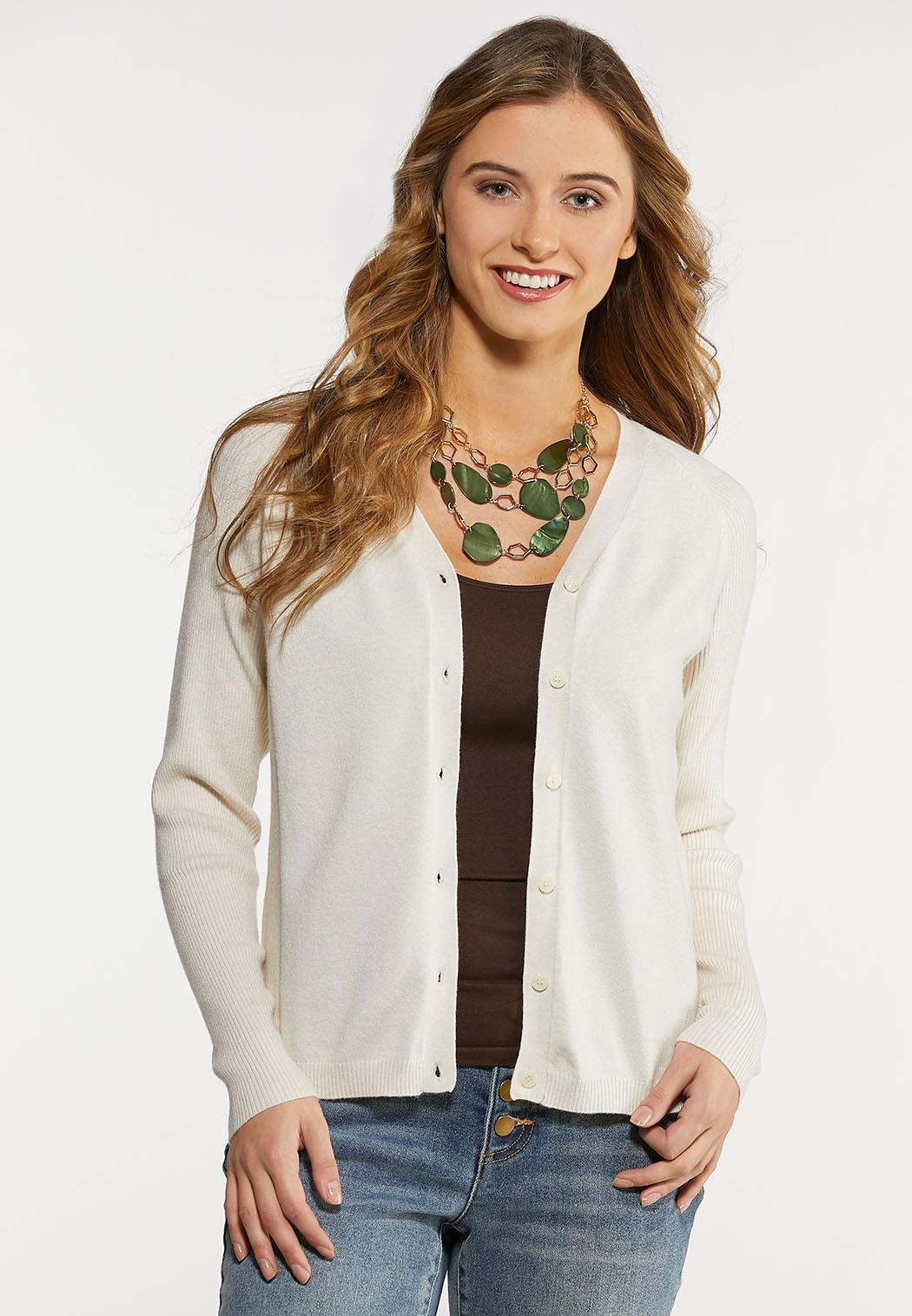 Button Down Cropped Cardigan (Item #44104686)