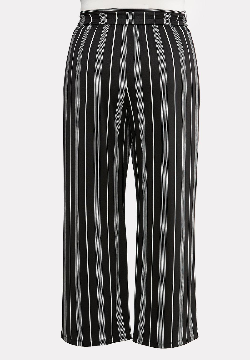 Plus Size Striped Tie Belted Pants (Item #44104913)