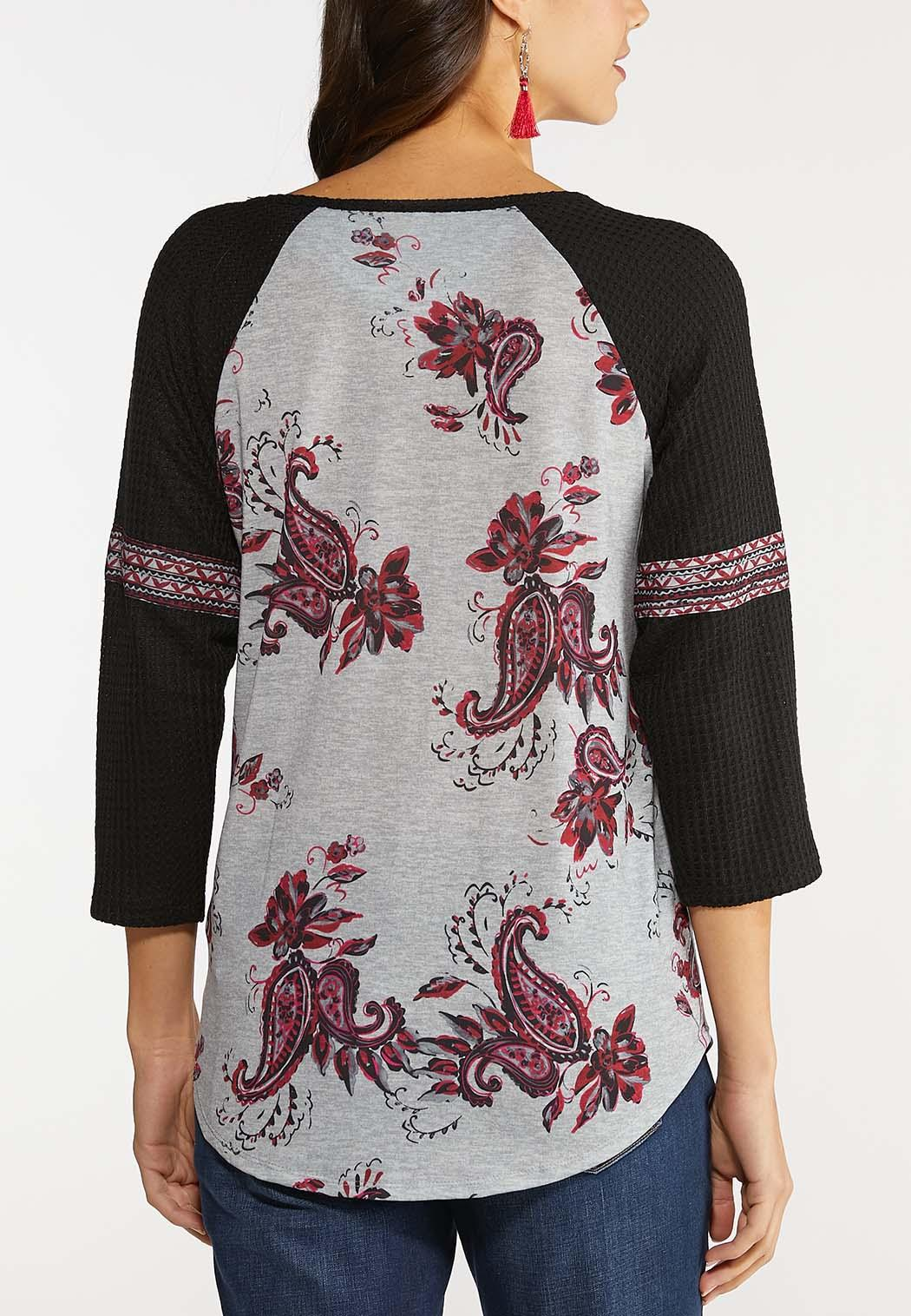 Plus Size Two-Toned Paisley Baseball Top (Item #44105052)