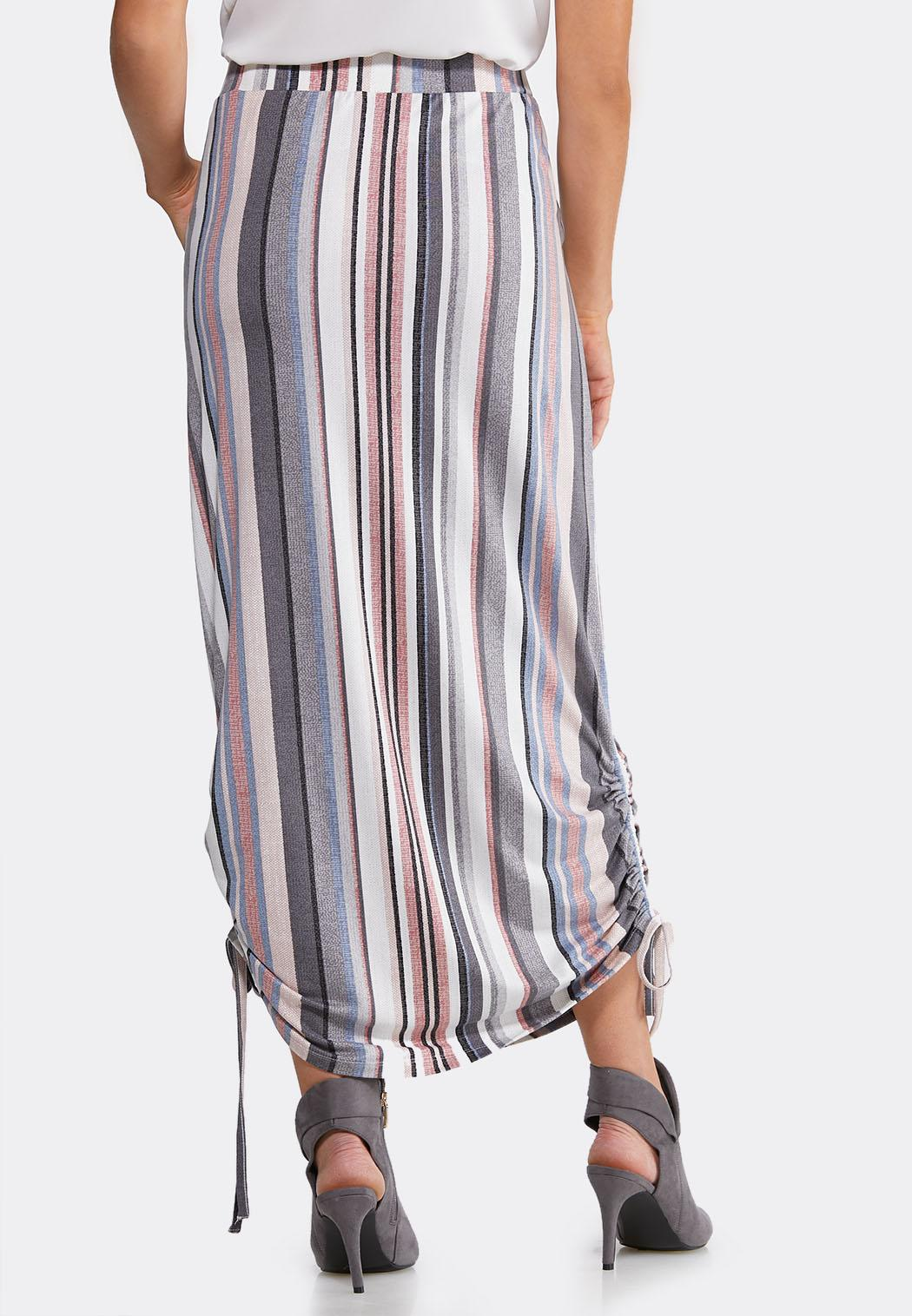 Plus Size Stripe Ruched Skirt (Item #44105573)