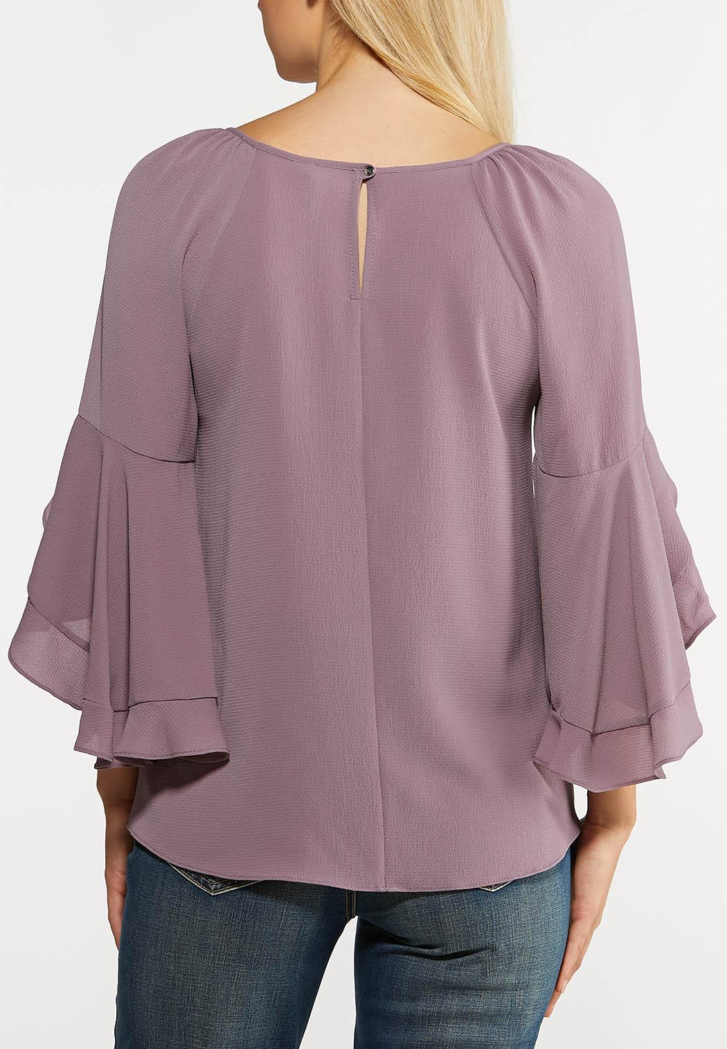 Plus Size Lavender Ruffled Sleeve Top (Item #44105912)