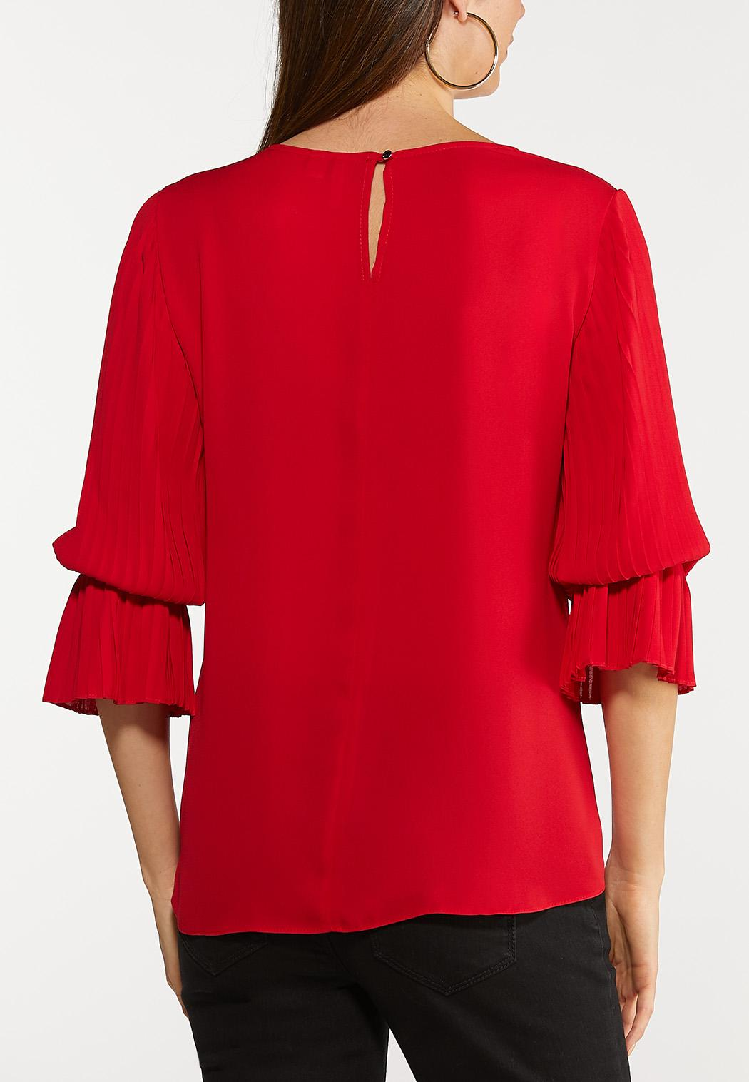 Plus Size Dramatic Sleeve Woven Top (Item #44106017)