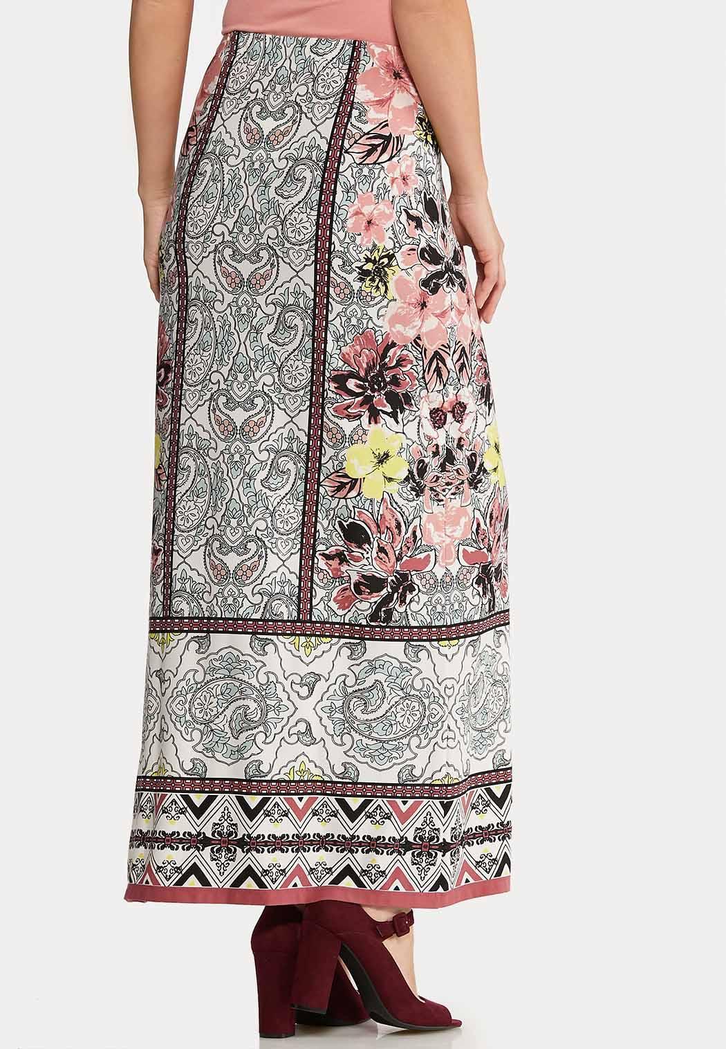 Plus Size Spring Floral Maxi Skirt (Item #44106119)