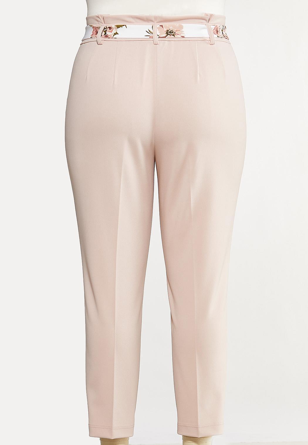 Plus Size Floral Belt Pants (Item #44106248)
