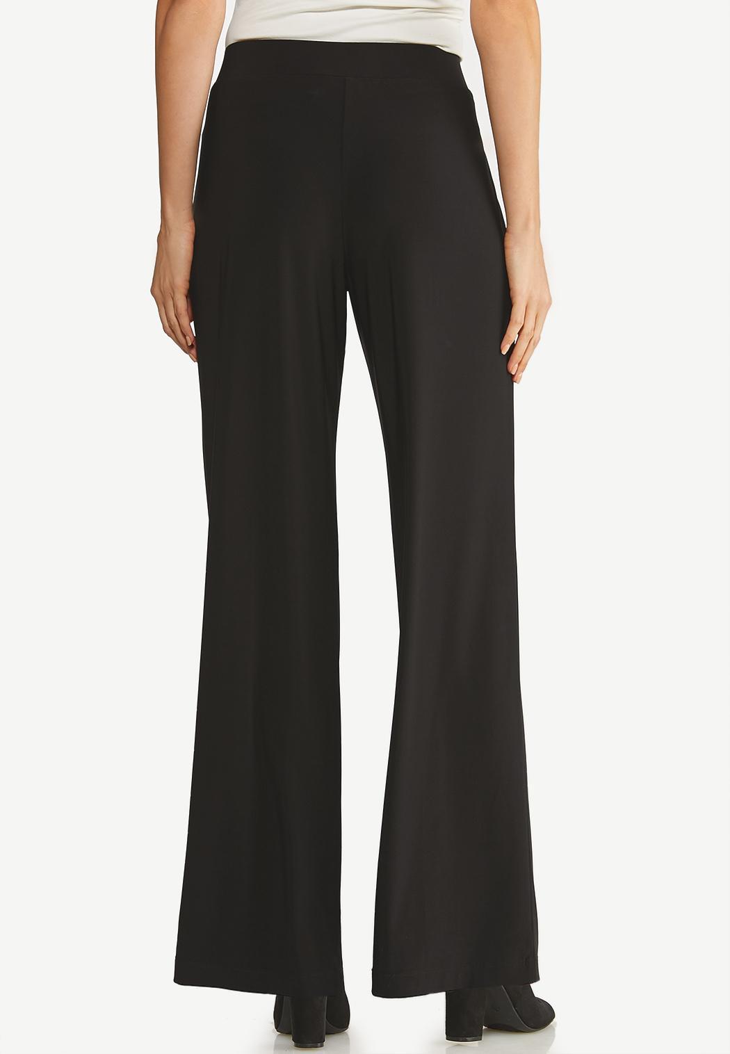 Petite Black Tie Front Palazzo Pants (Item #44106350)