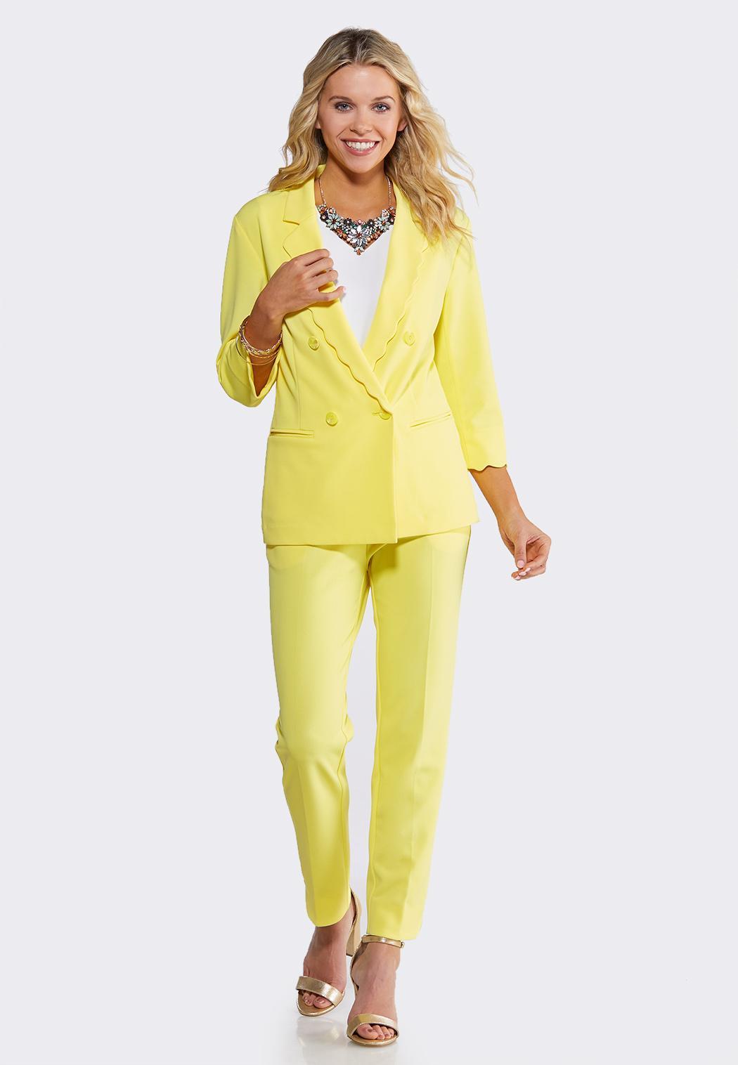 Plus Size Yellow Scalloped Blazer (Item #44106485)