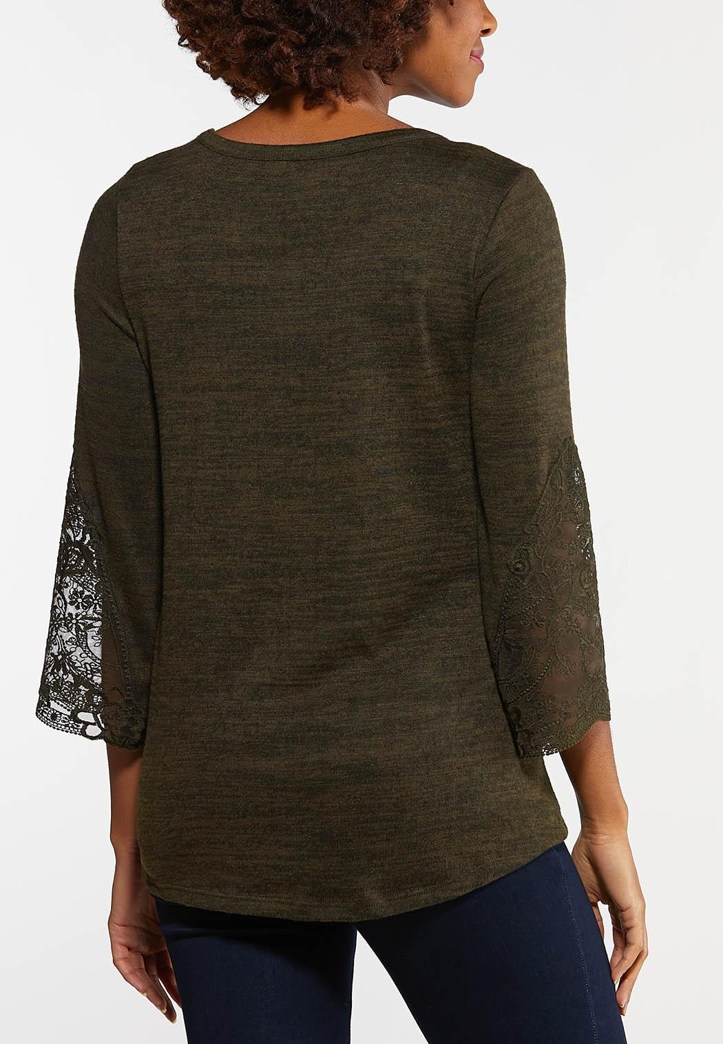 Green Lace Sleeve Top (Item #44106494)