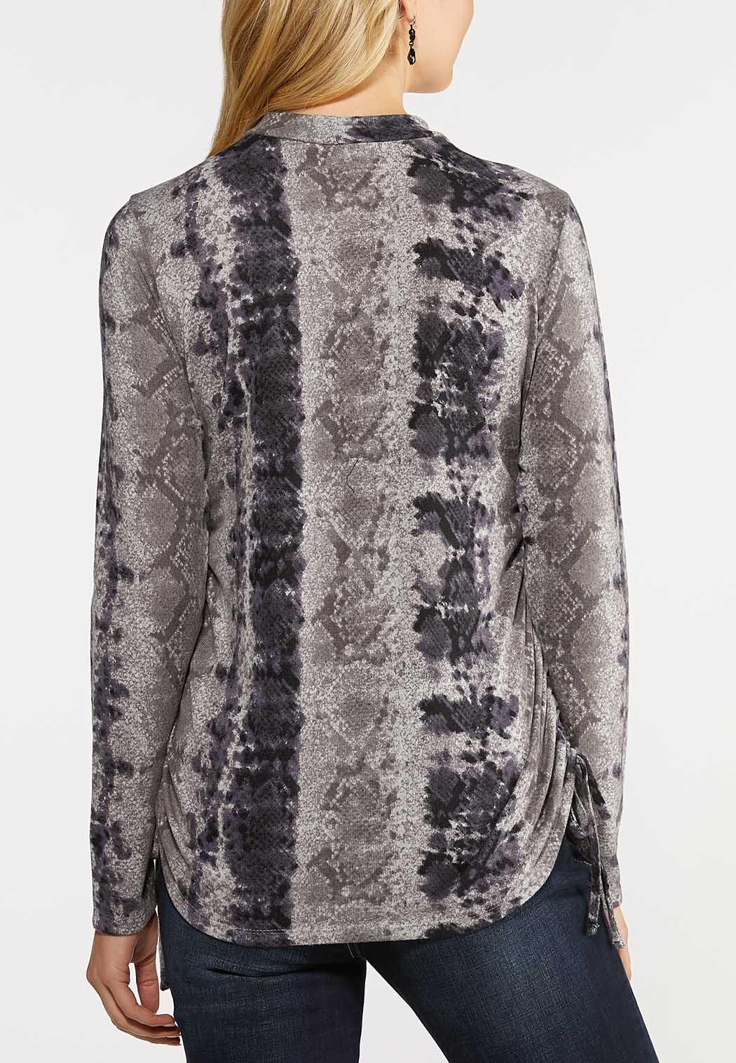 Plus Size Ruched Snake Hacci Top (Item #44106540)
