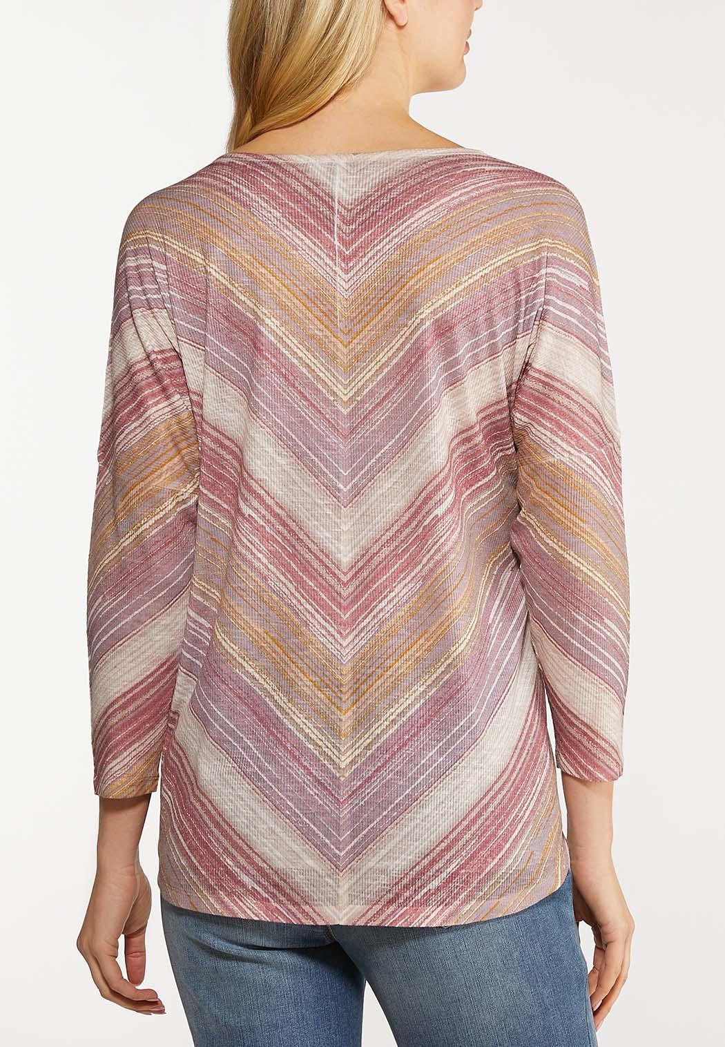 Plus Size Lavender Mitered Stripe Top (Item #44107093)