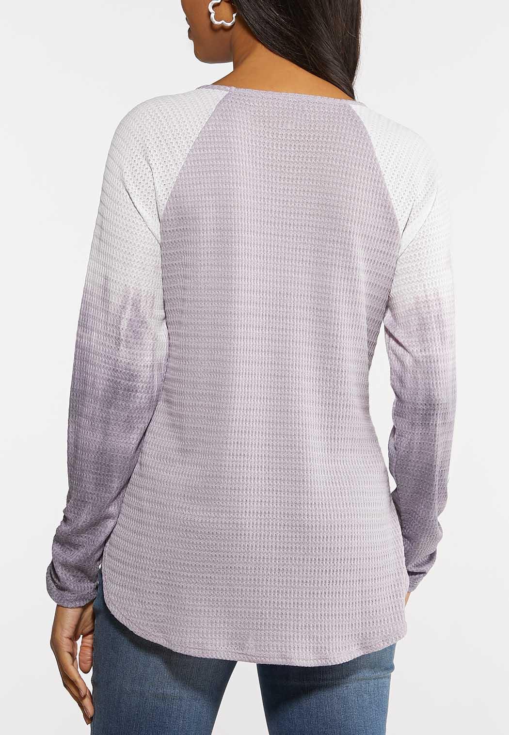 Plus Size Lavender Tie Dye Baseball Top (Item #44107195)