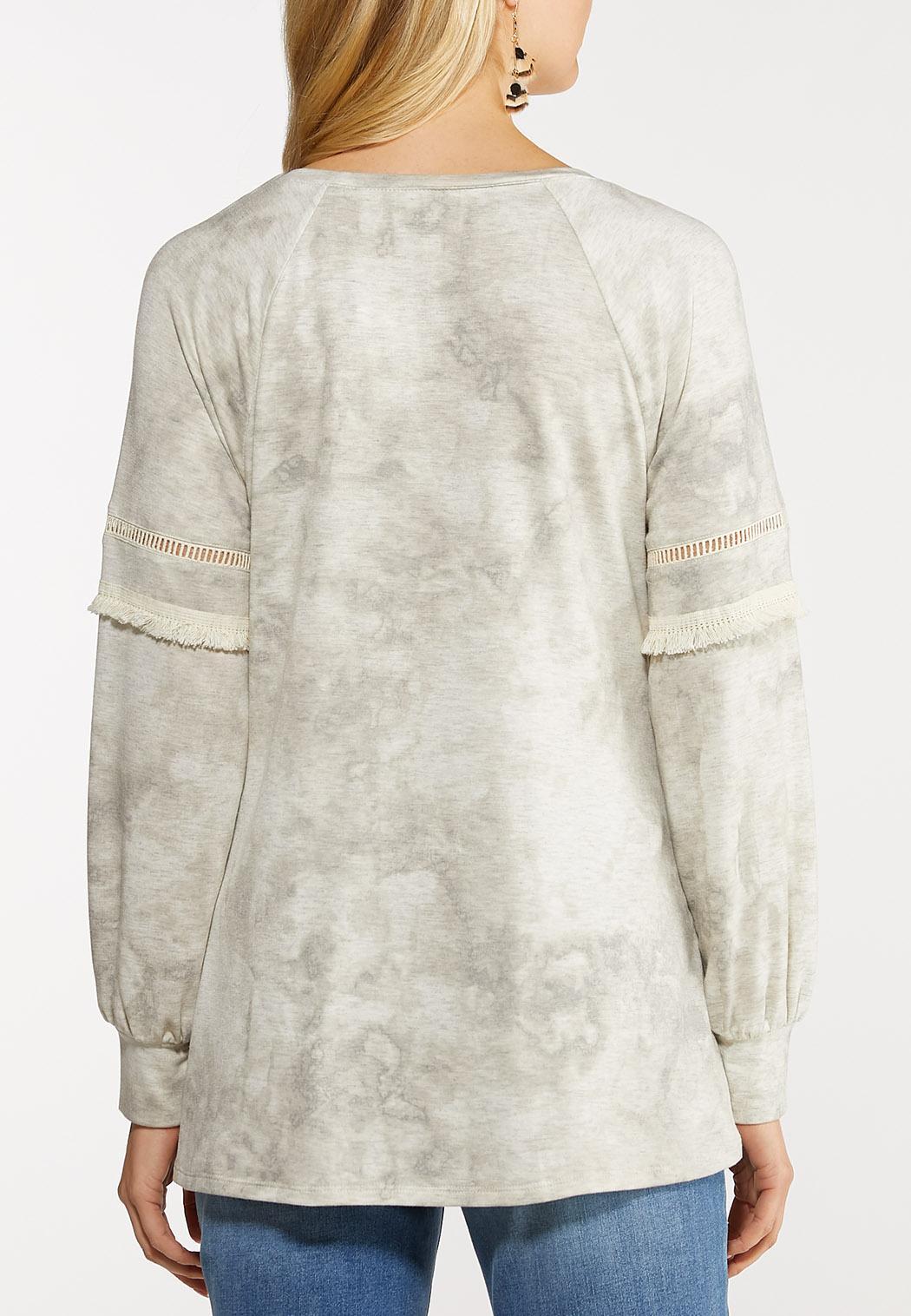Plus Size Oatmeal Tie Dye Twist Top (Item #44107223)