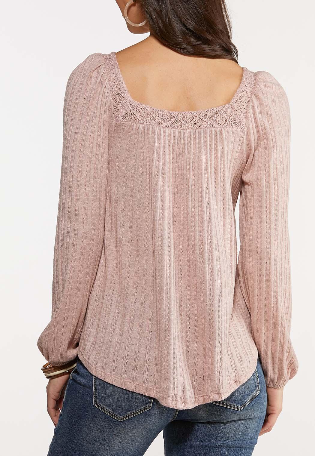Plus Size Textured Lace Neck Top (Item #44107259)