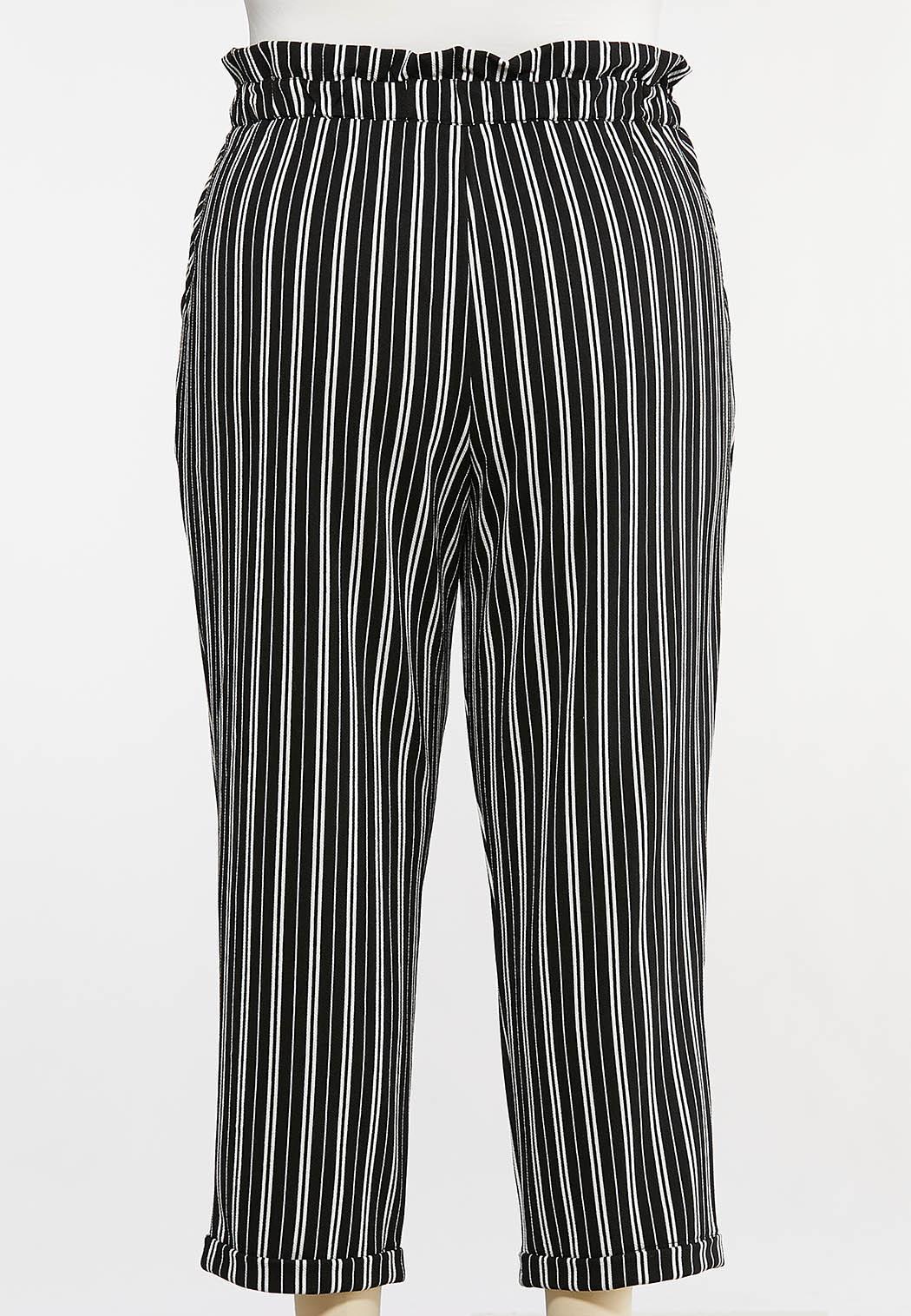 Plus Size Black And White Tie Pants (Item #44108256)