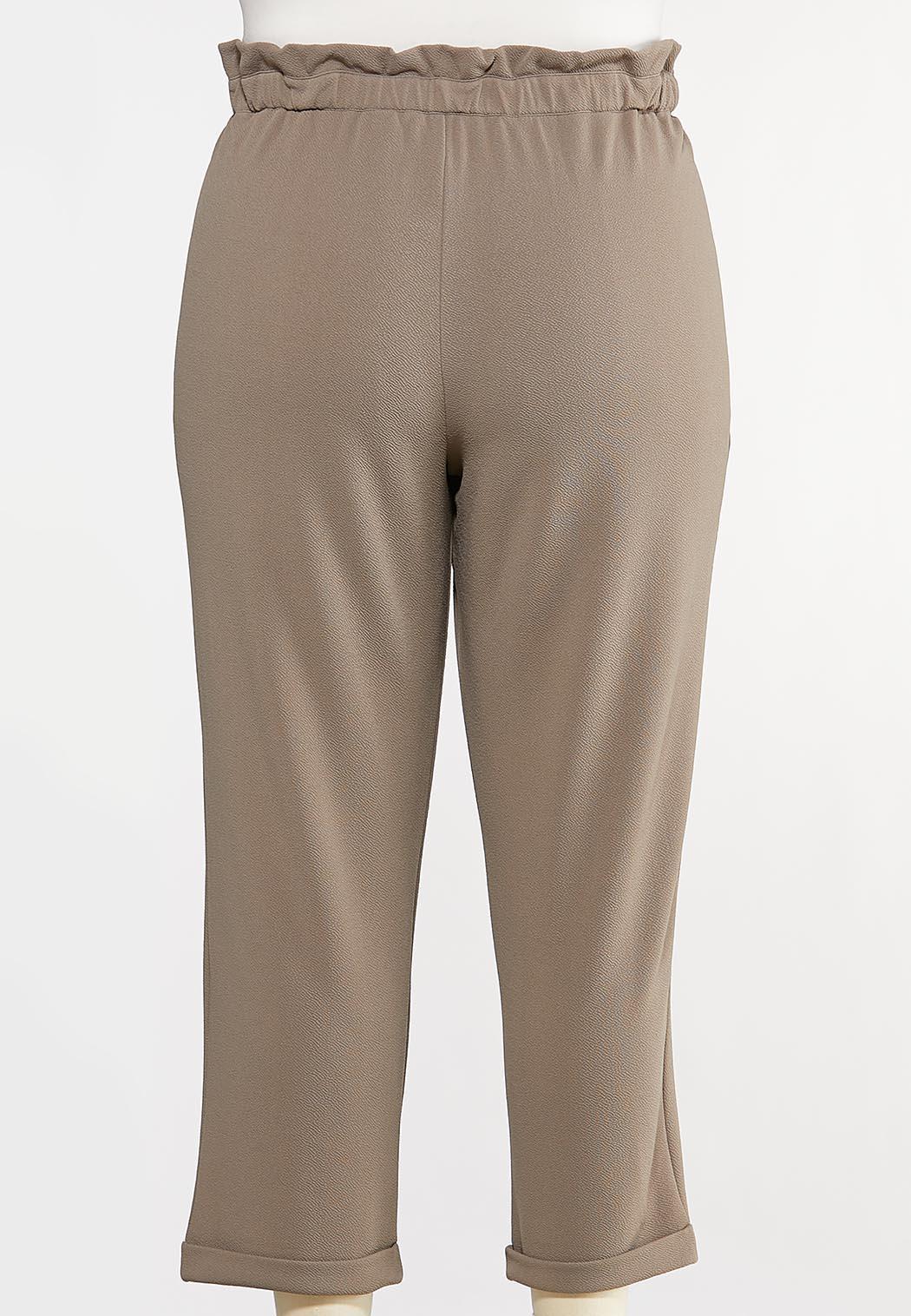 Plus Size Crepe Paperbag Waist Pants (Item #44108308)