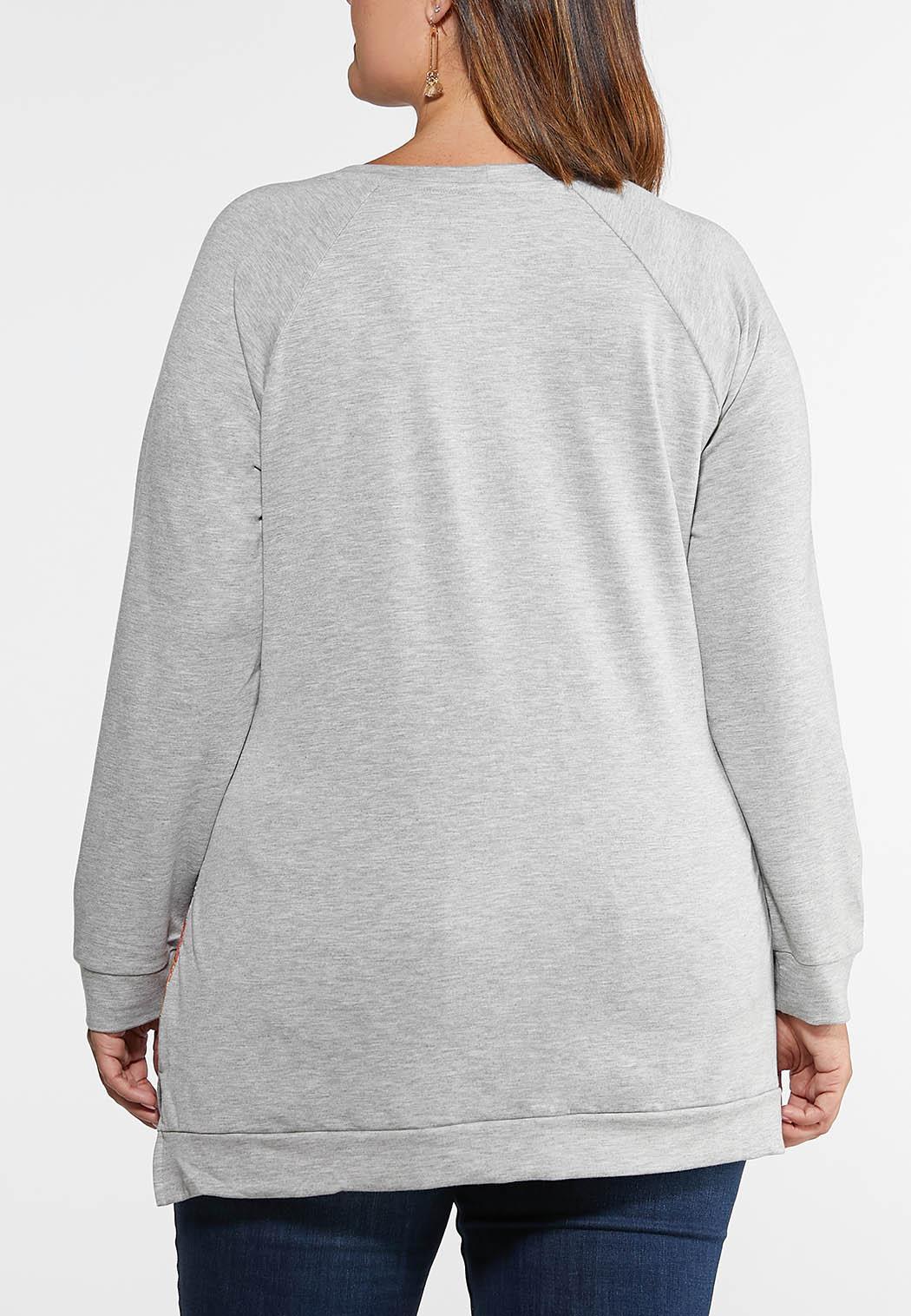 Plus Size Embellished Patchwork Print Top (Item #44108592)