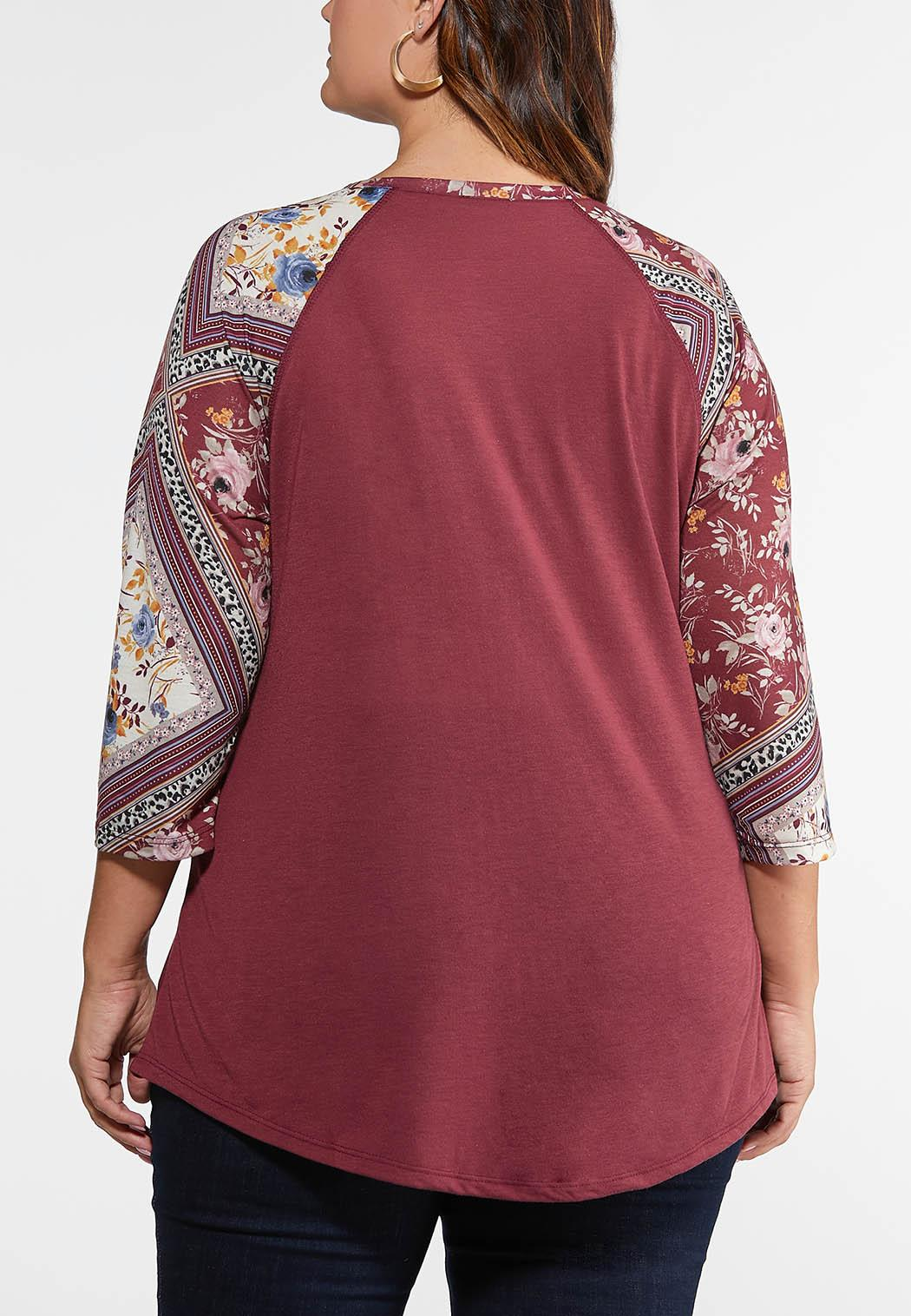 Plus Size Knotted Burgundy Floral Top (Item #44108608)