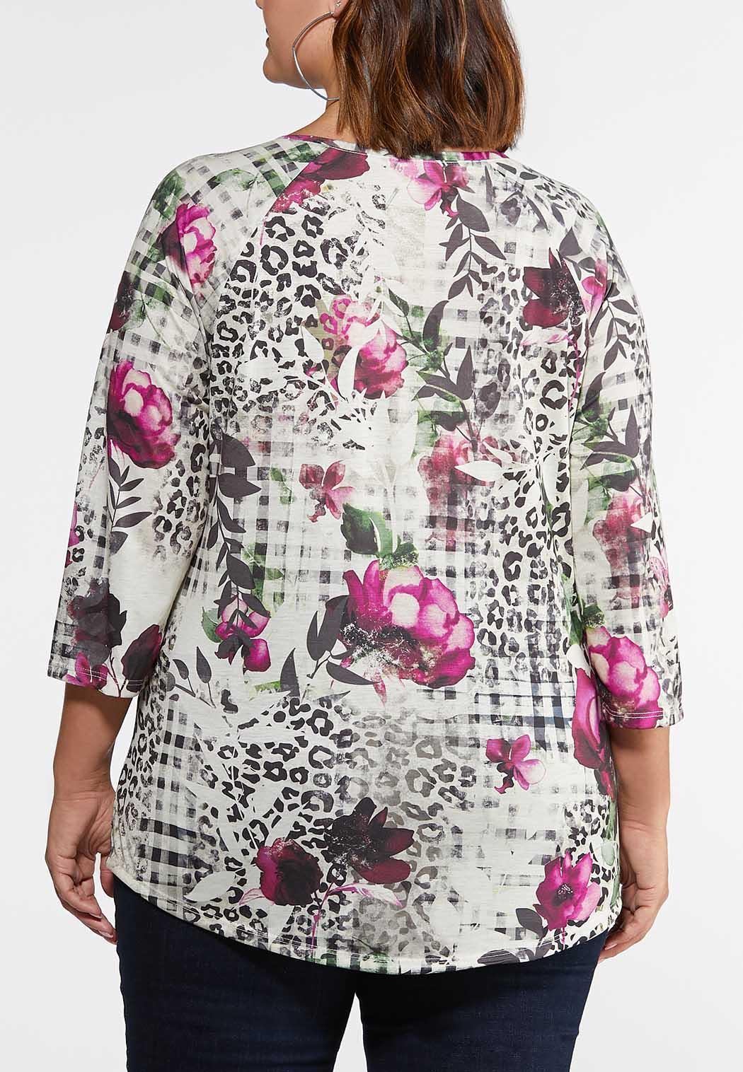 Plus Size Knotted Floral Check Top (Item #44108616)