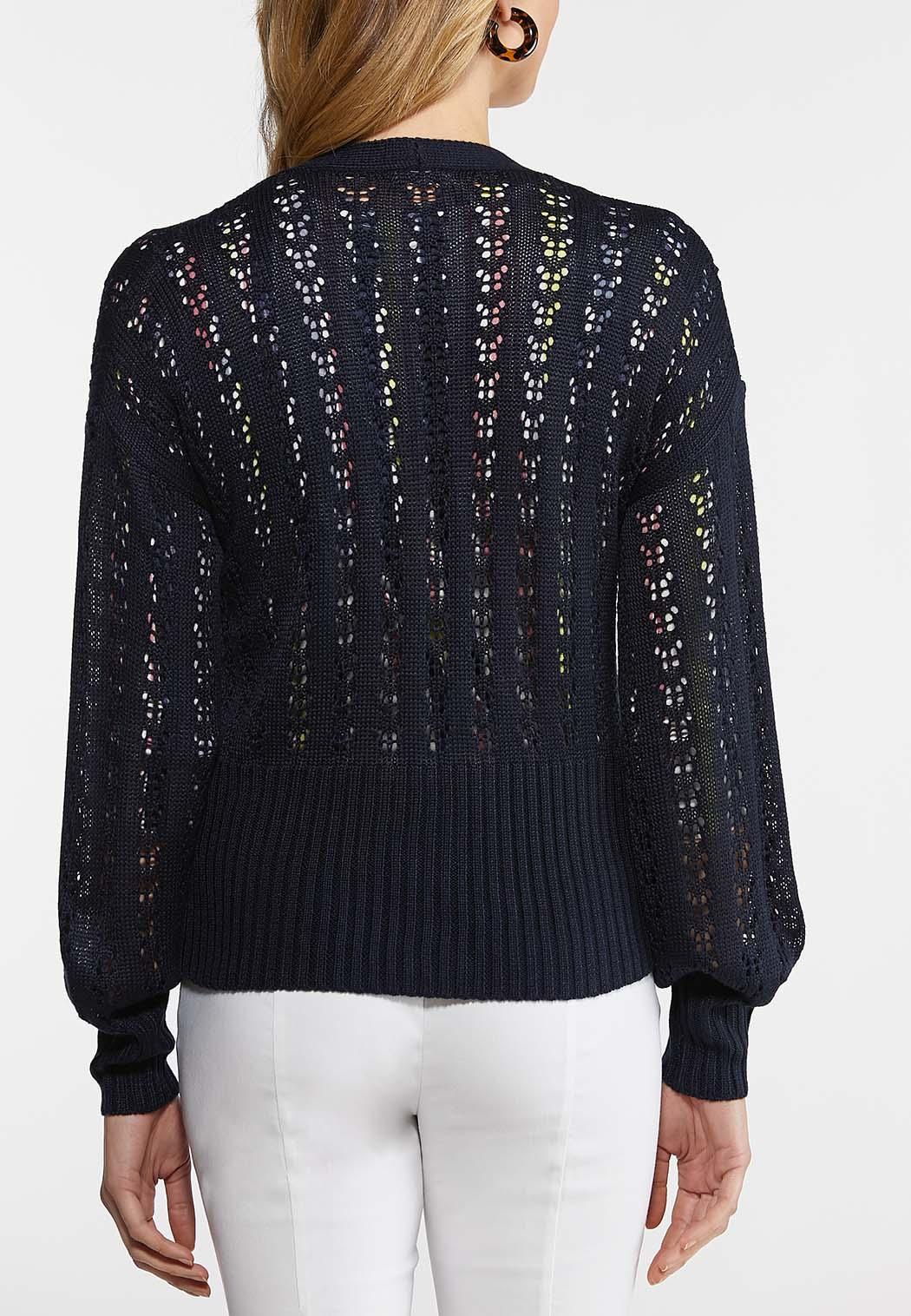 Plus Size Open Knit Cardigan (Item #44108640)