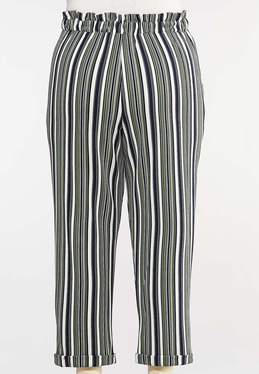 Plus Size Stripe Paperbag Pants (Item #44108707)