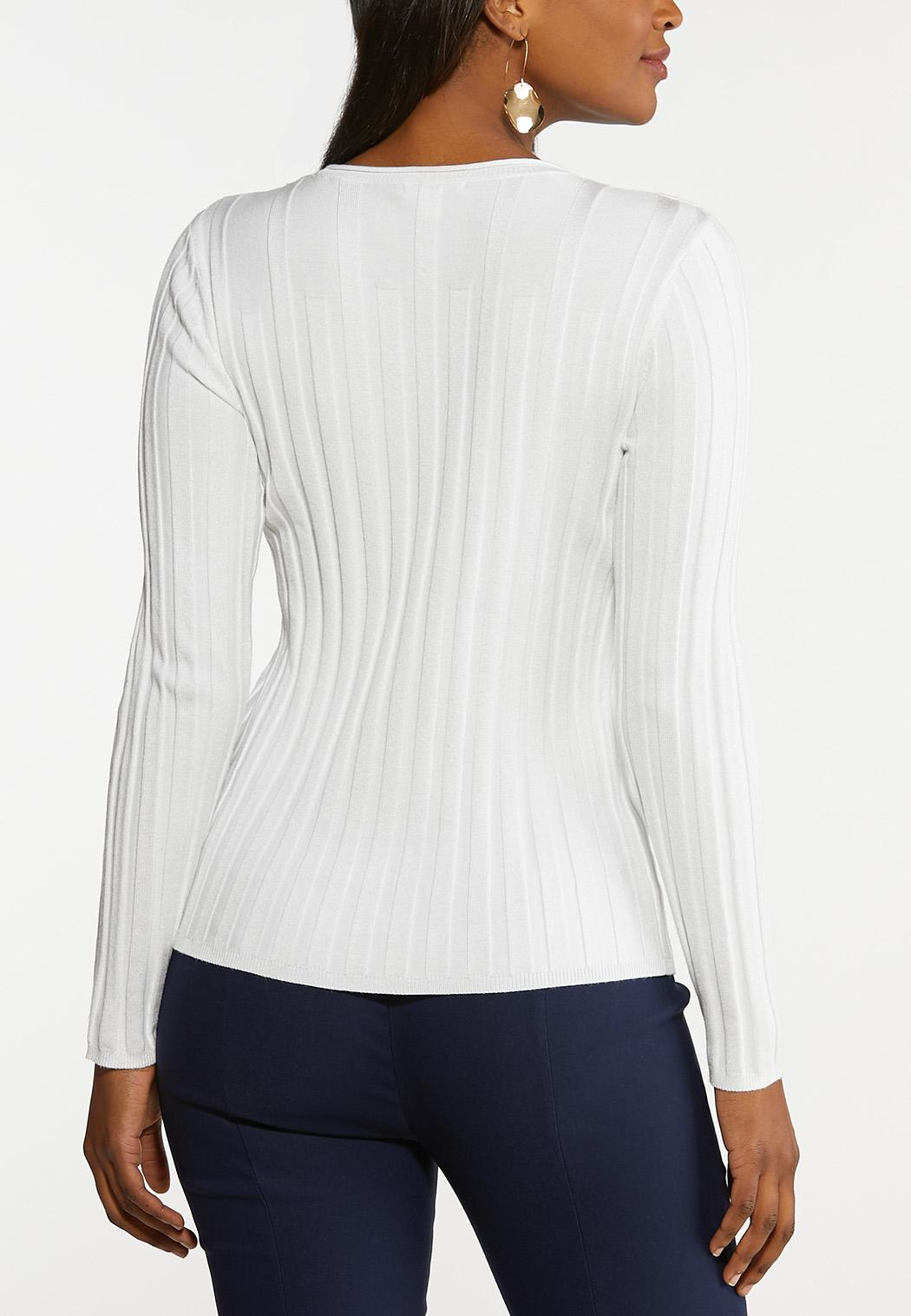 Plus Size Fitted Ribbed Sweater (Item #44109260)