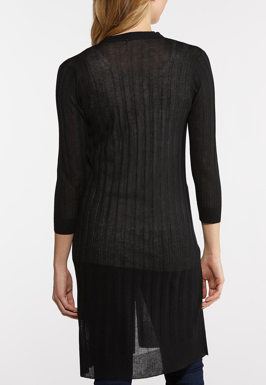 Plus Size Sheer Black Cardigan Sweater (Item #44109445)