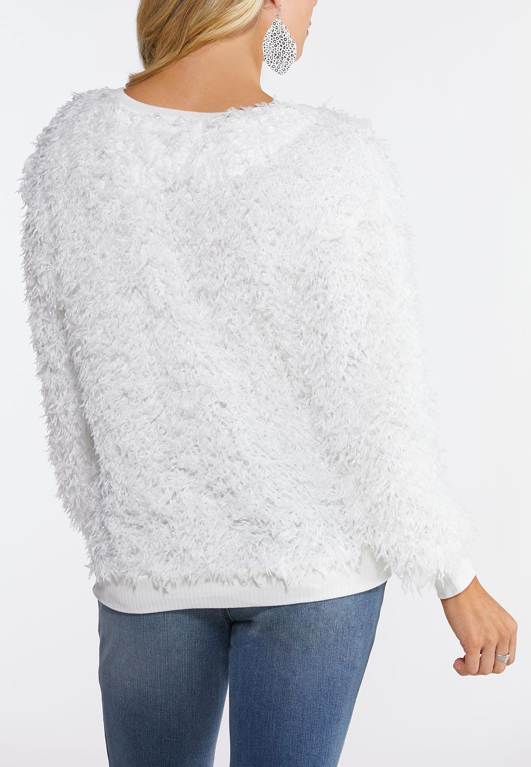 Plus Size Fluffy Ivory Scoop Neck Top (Item #44109475)