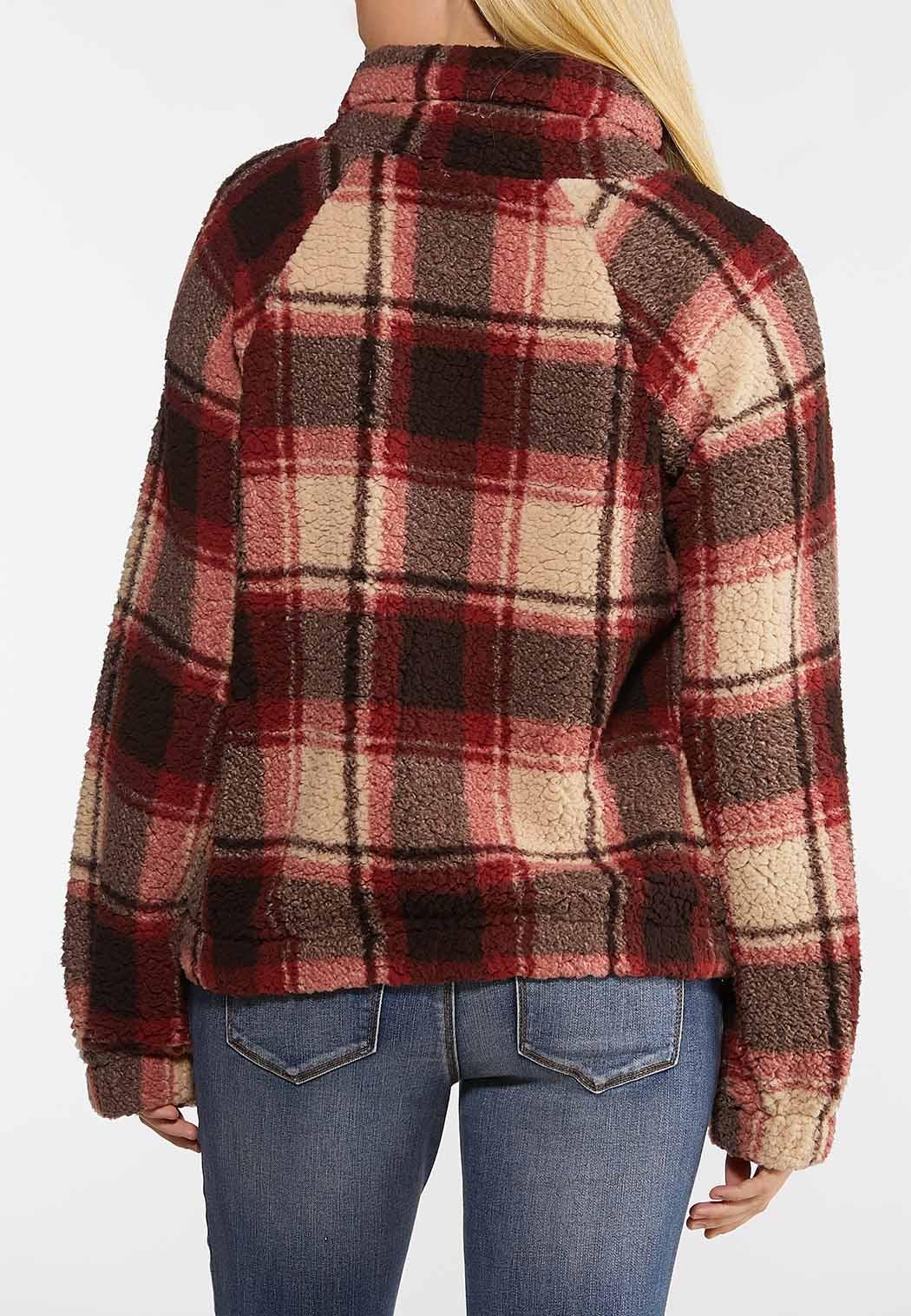 Plus Size Plaid Fleece Pullover Top (Item #44109589)