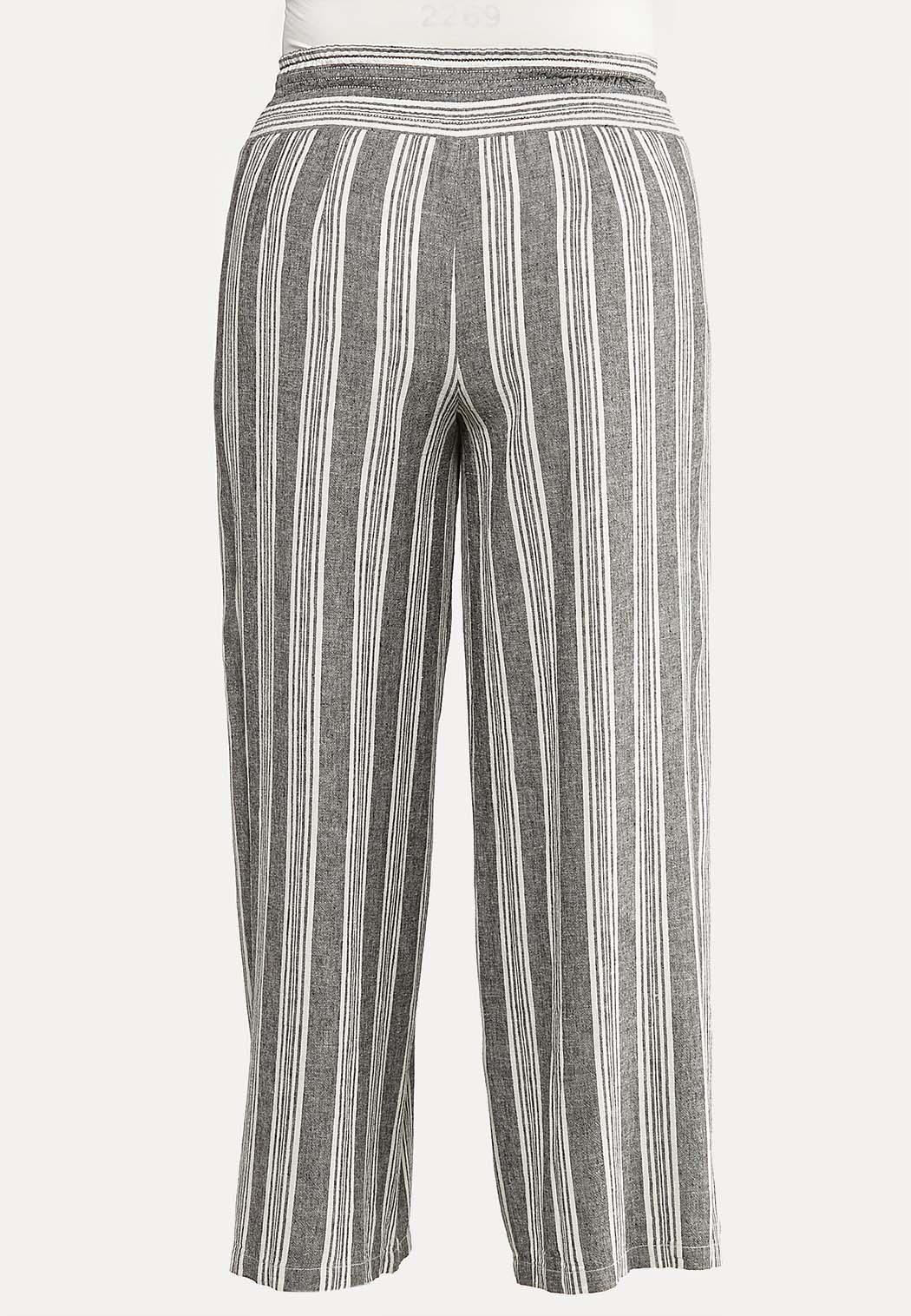 Plus Size Striped Linen Pants (Item #44111232)
