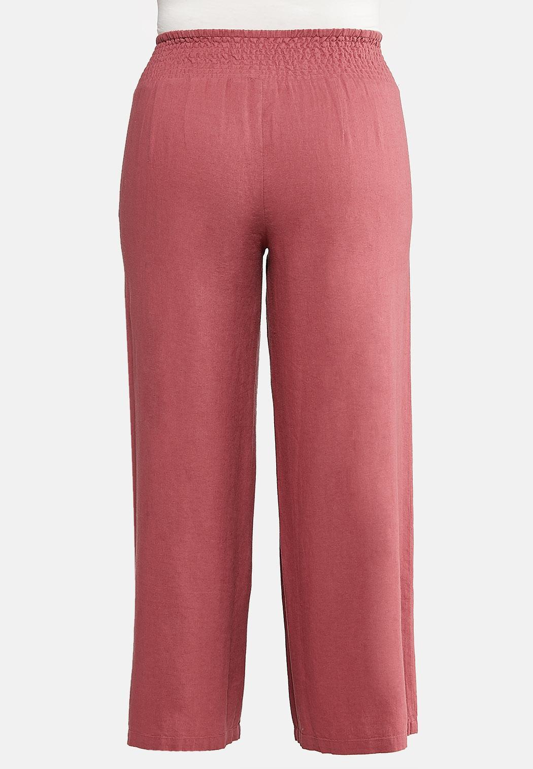 Plus Size Smock Waist Linen Pants (Item #44111262)