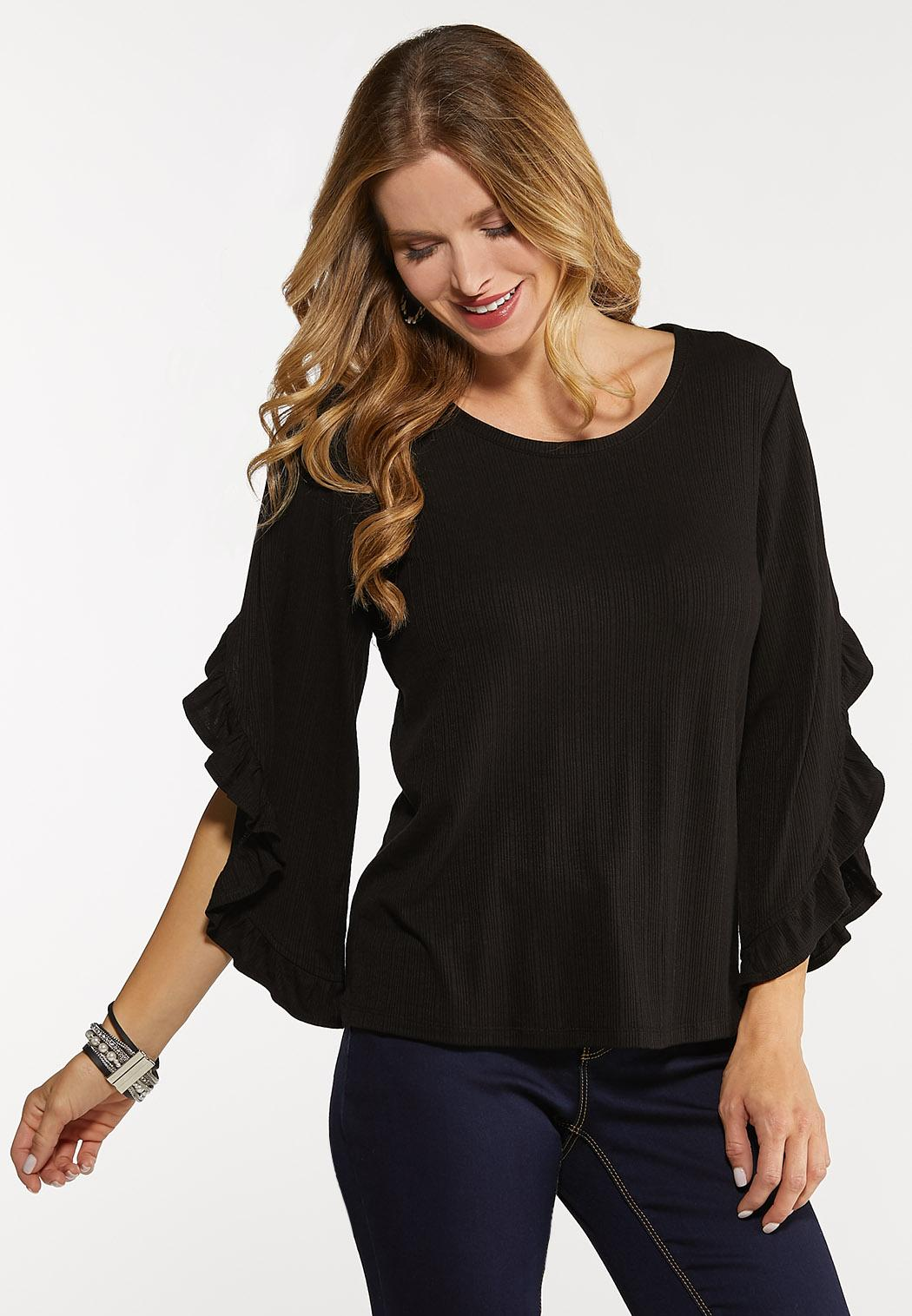 Plus Size Ruffled Slit Sleeve Top (Item #44111582)