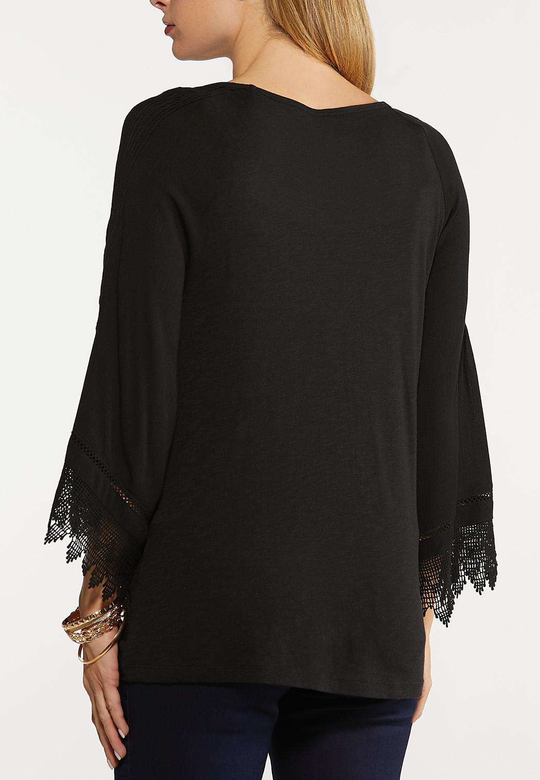 Pleated Lace Sleeve Top (Item #44111590)