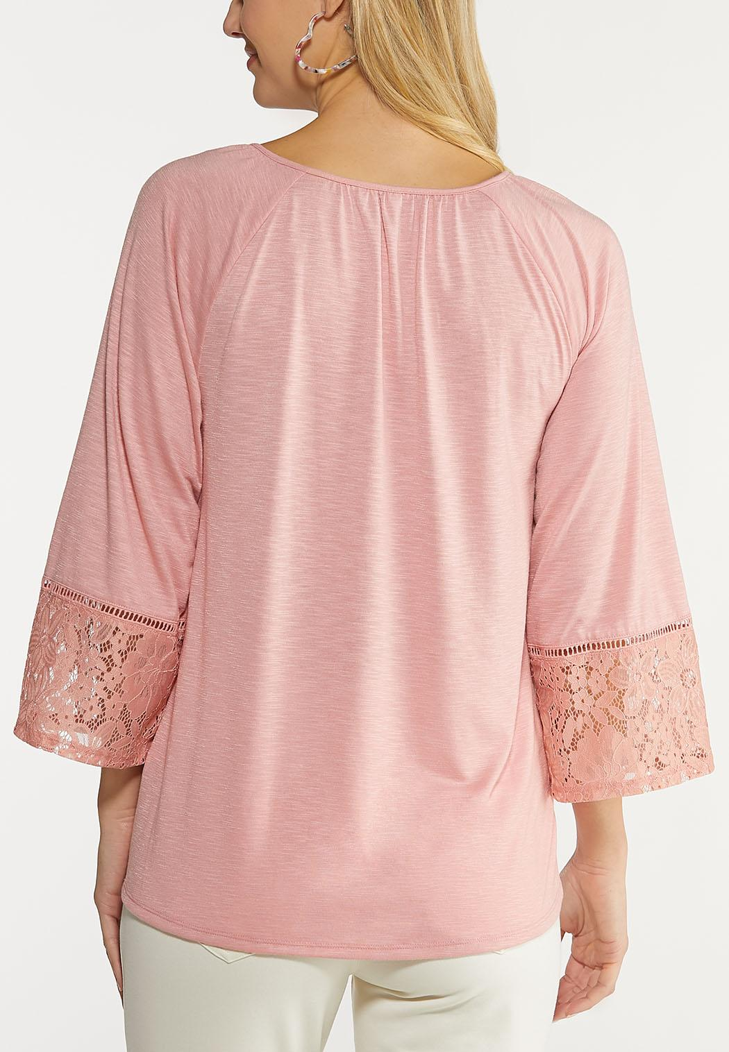 Plus Size Bell Sleeve Lacy Top (Item #44111627)
