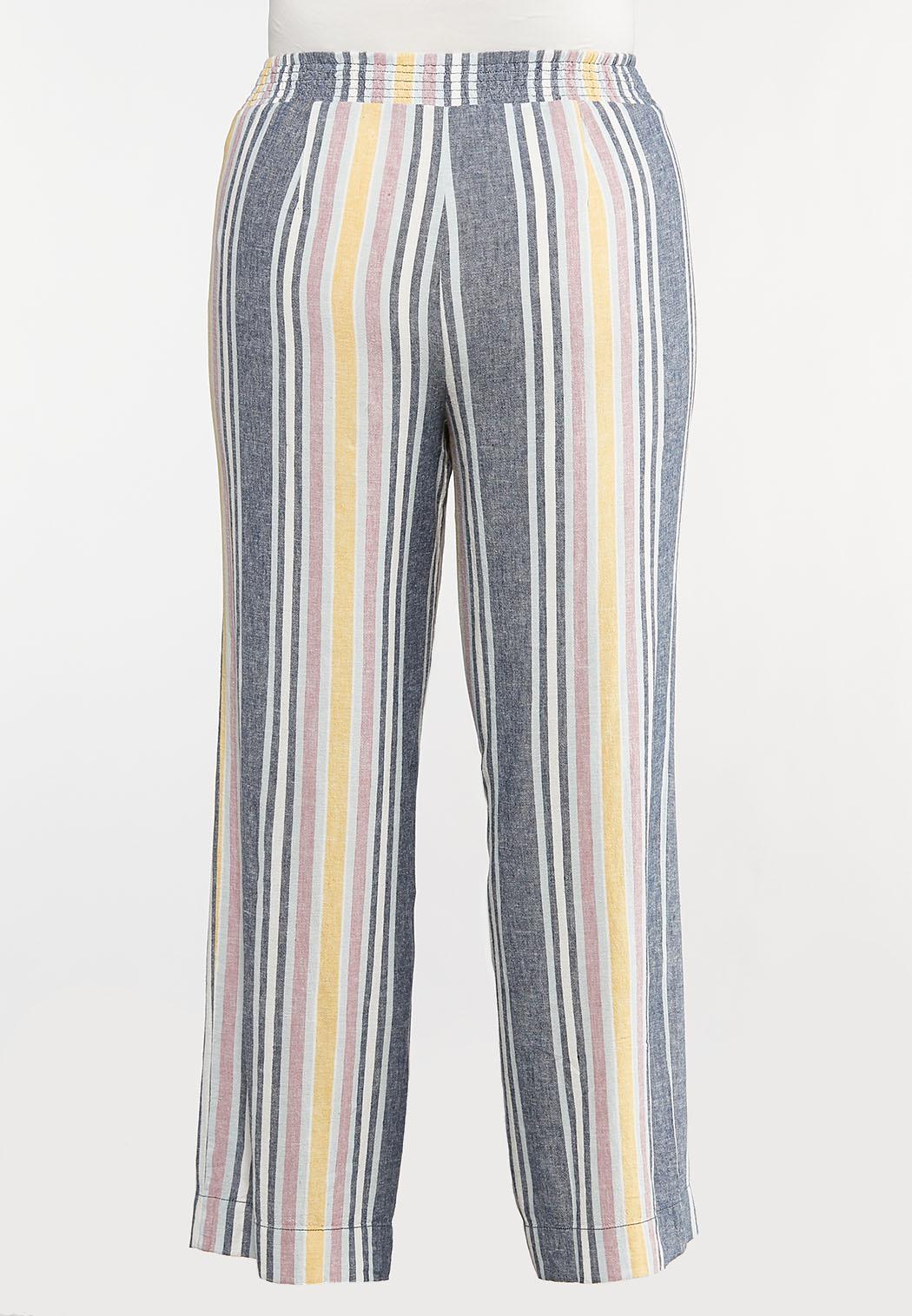 Plus Size Striped Linen Pants (Item #44112182)