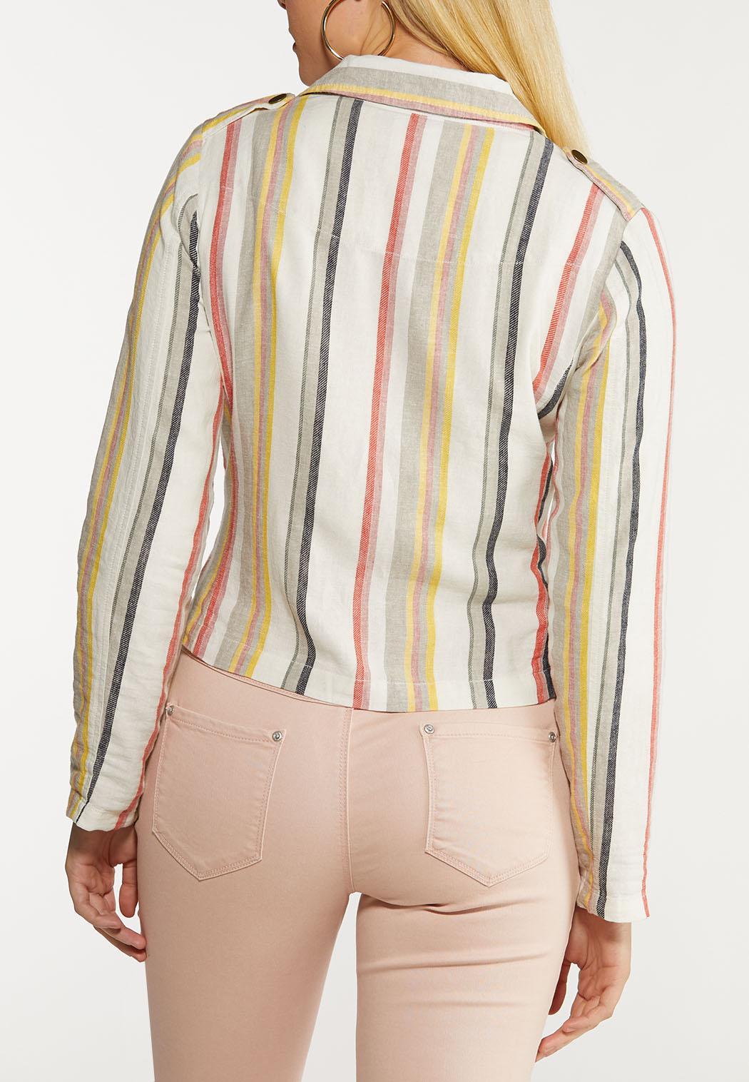 Striped Linen Moto Jacket (Item #44112312)