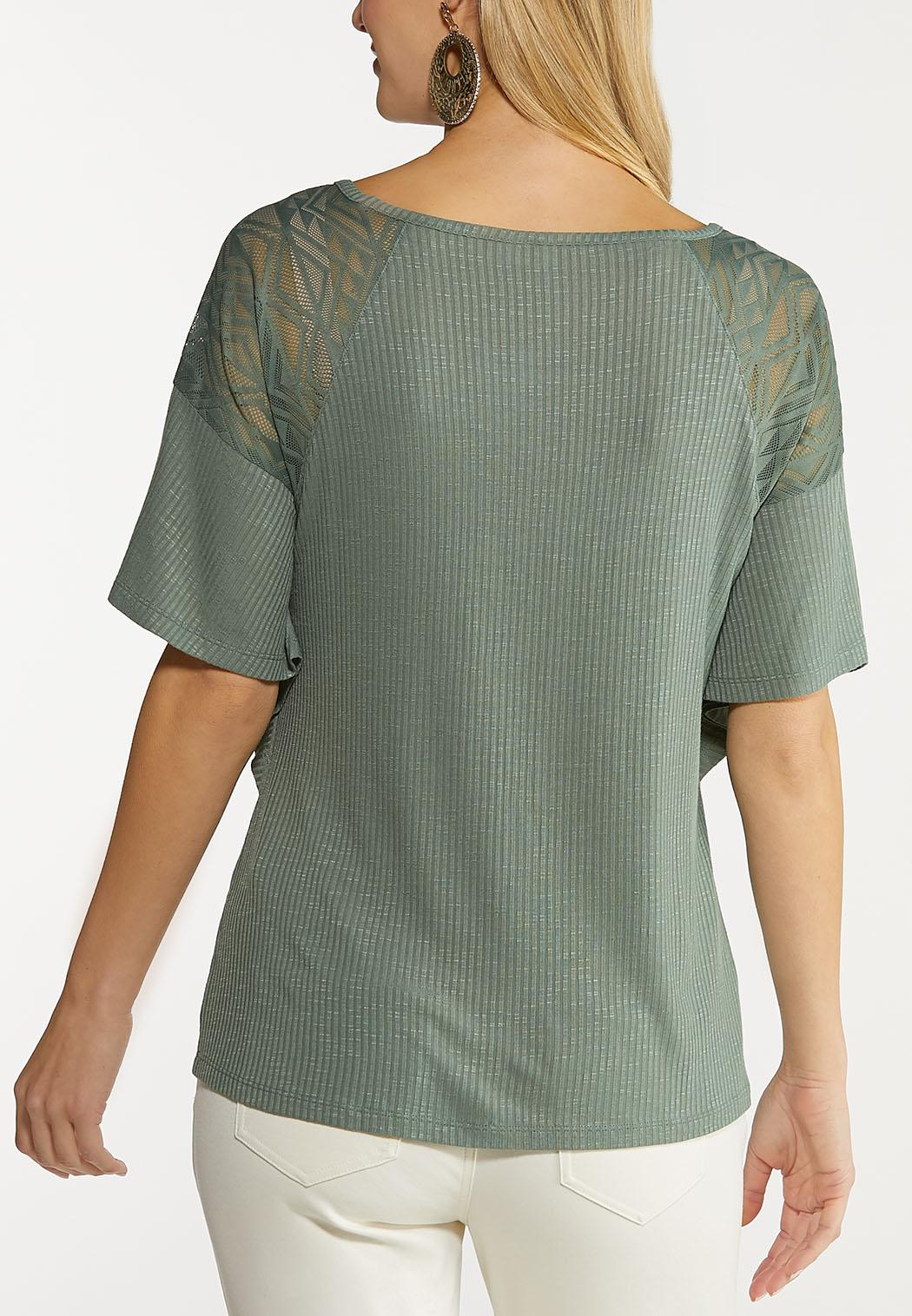 Plus Size Lace Flutter Sleeve Top (Item #44112844)