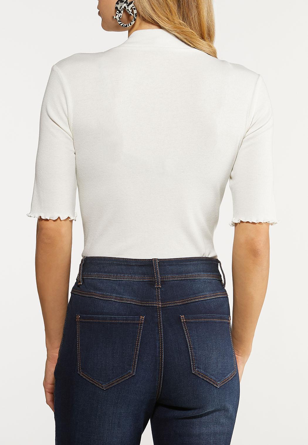 Plus Size Ribbed Ivory Bodysuit (Item #44112862)