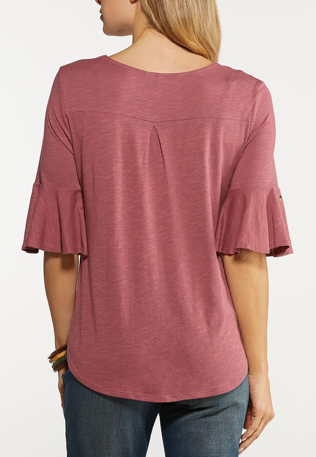 Plus Size Flutter Sleeve Top (Item #44113356)