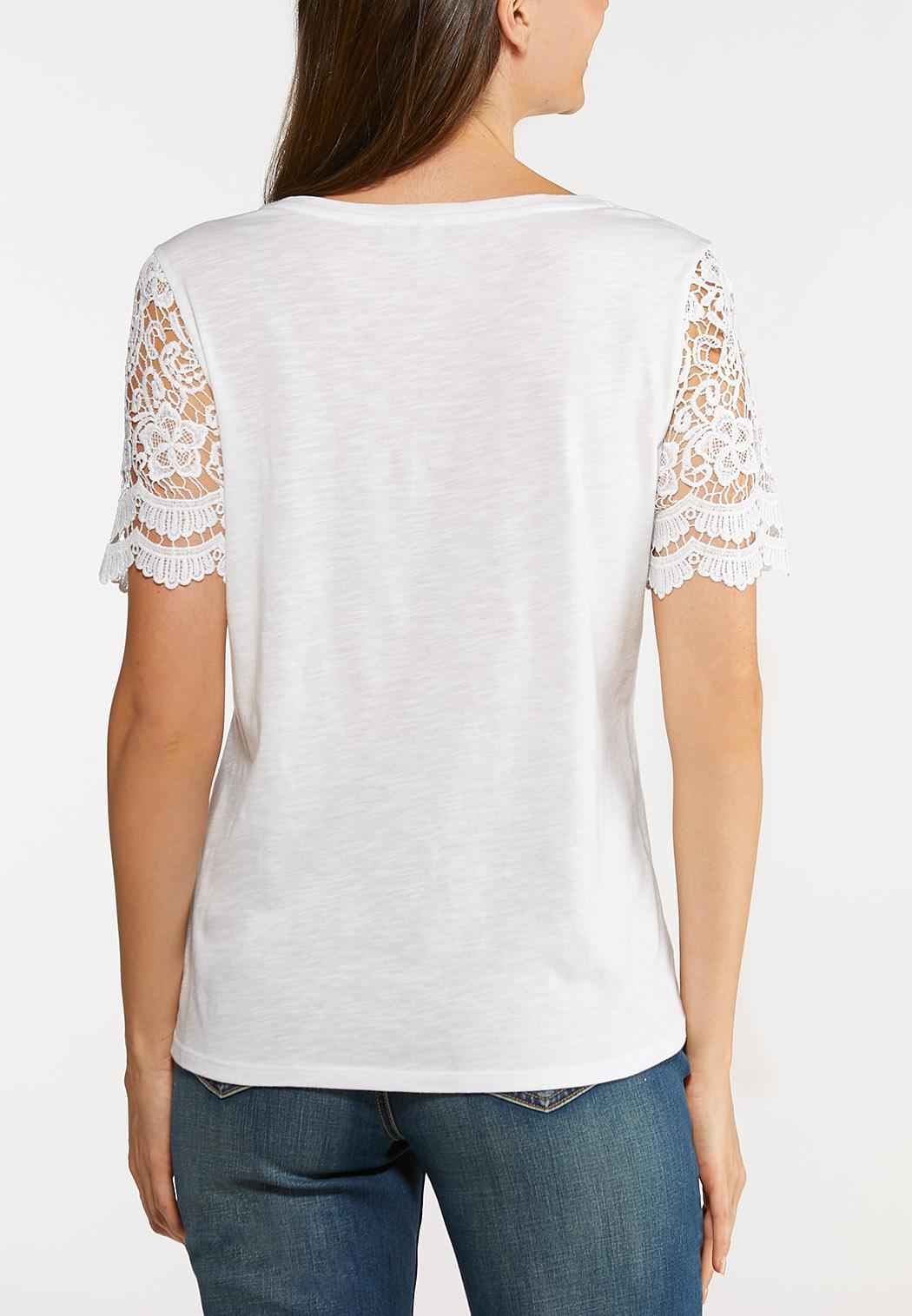 Plus Size Short Lace Sleeve Top (Item #44113429)