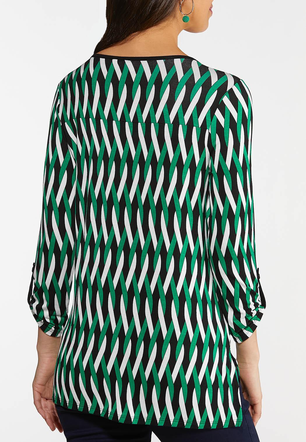 Plus Size Green Twist Print Top (Item #44114730)