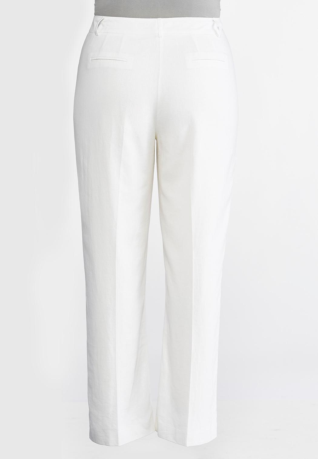 Plus Size White Linen Trouser Pants (Item #44115070)