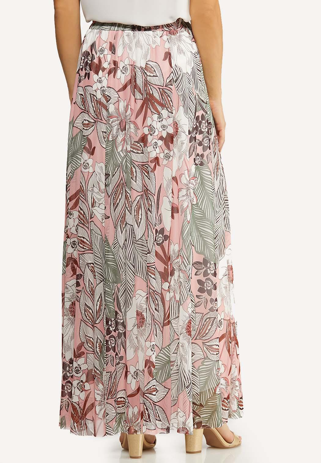 Plus Size Floral Mesh Maxi Skirt (Item #44115112)