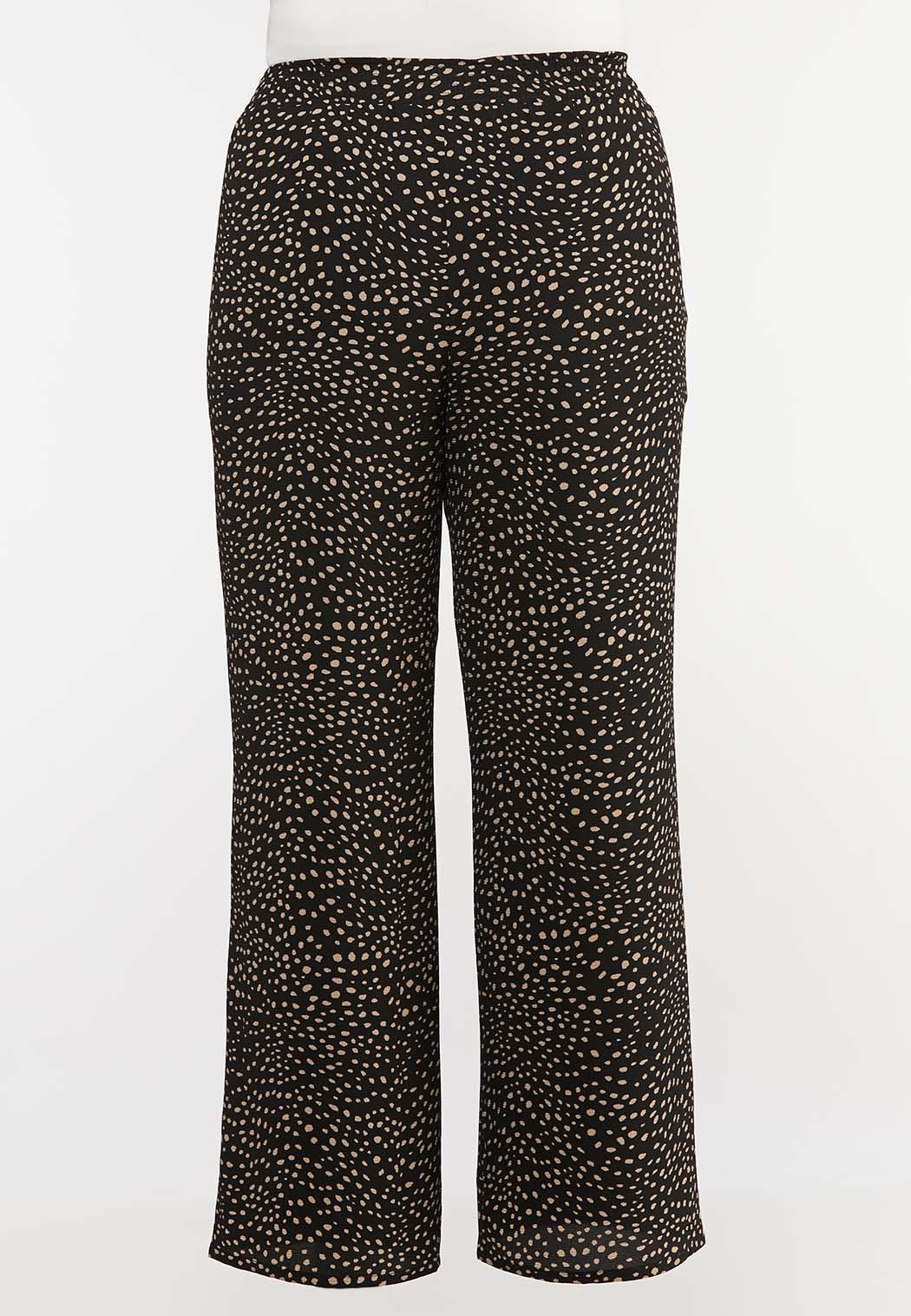 Plus Size Dotted Crepe Palazzo Pants (Item #44116103)