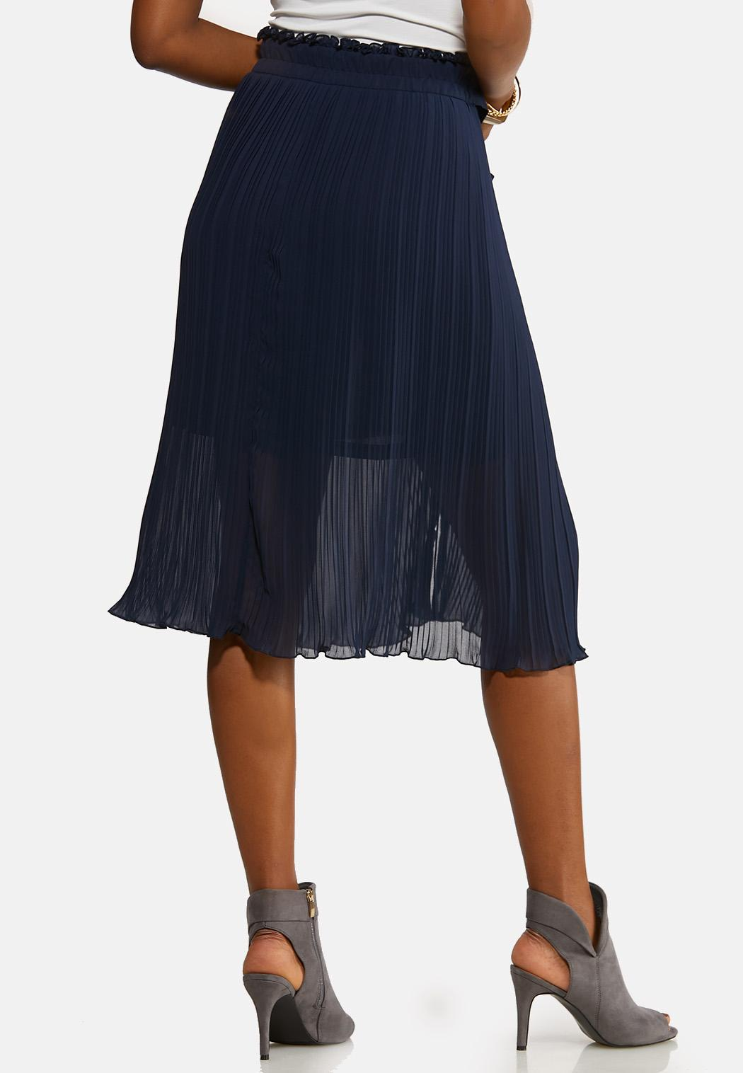 Plus Size Sheer Pleated Midi Skirt (Item #44116295)
