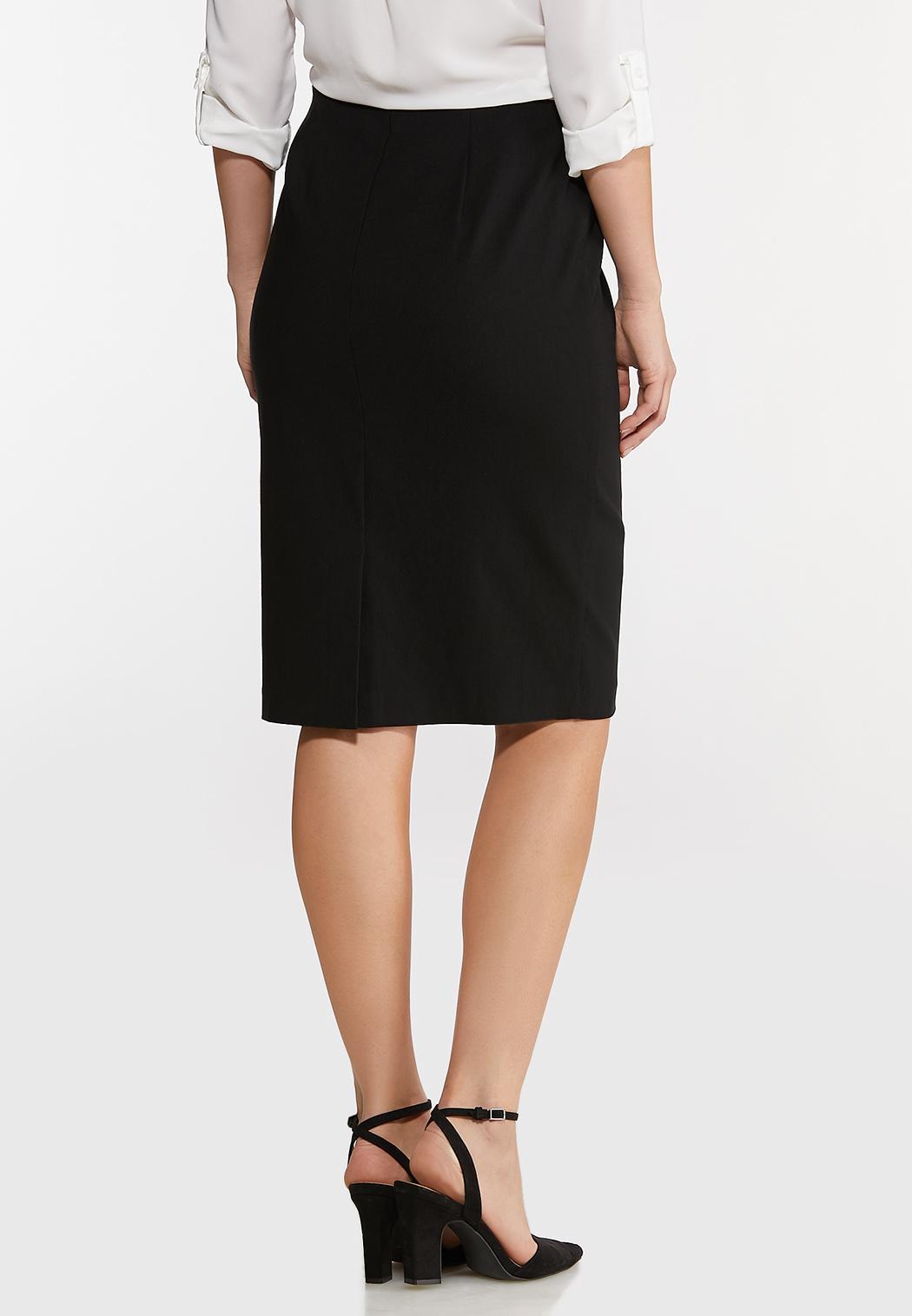 Plus Size Black Bengaline Pencil Skirt (Item #44116304)